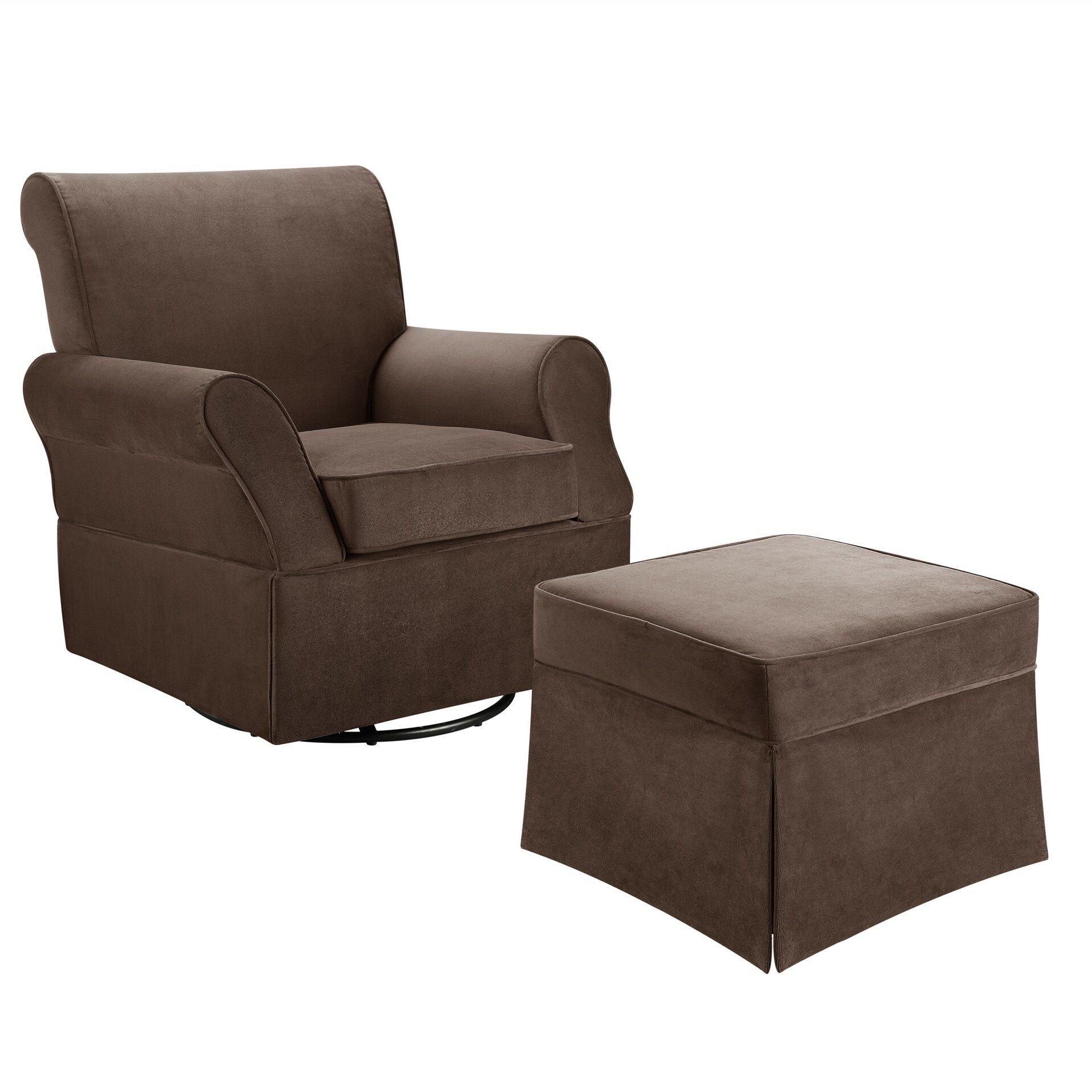 Upholstered swivel rocking chair gliders amp ottomans wayfair