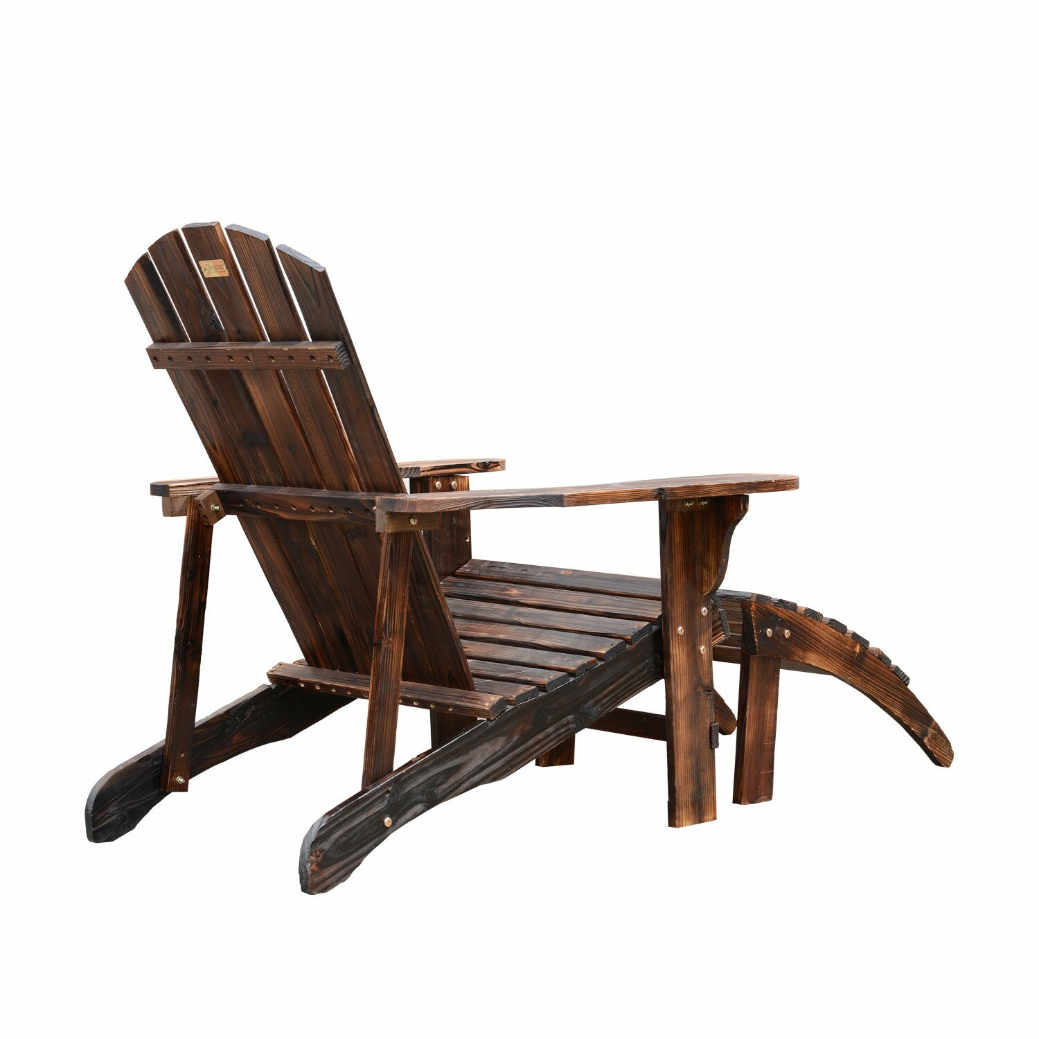 Outsunny Wooden Adirondack Outdoor Patio Lounge Chair Reviews Wayfair