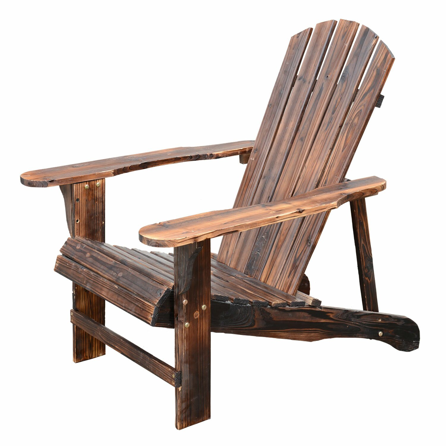 outsunny wooden adirondack outdoor patio lounge chair. Black Bedroom Furniture Sets. Home Design Ideas