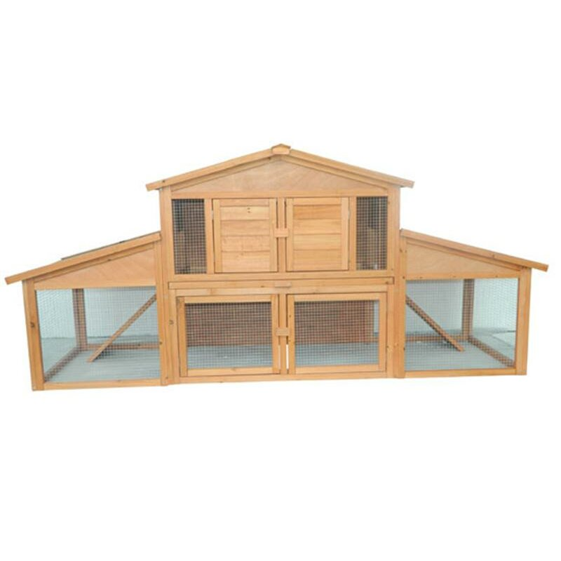 Pawhut Large Bunny Rabbit Hutch Chicken Coop With Large