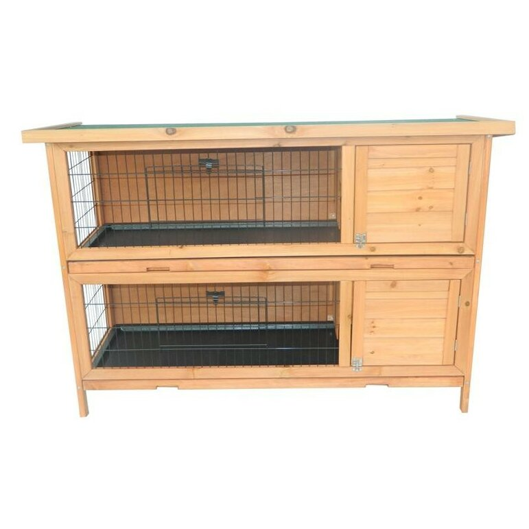 2 story stacked wooden outdoor animal bunny rabbit hutch