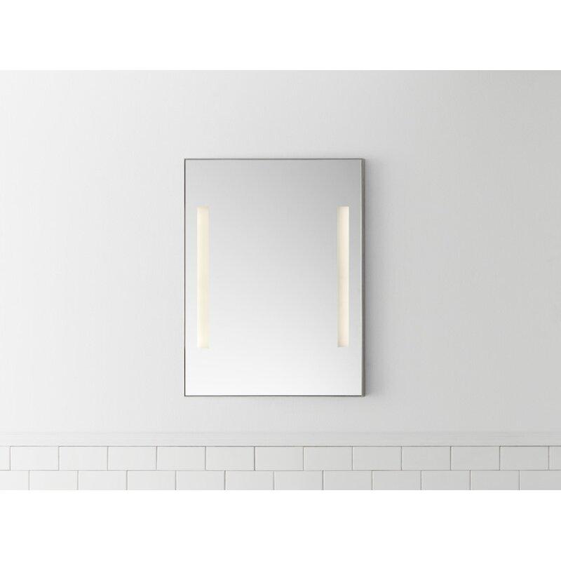 "Contemporary 23"" x 30"" Metal Framed Bathroom Mirror w LEDs"