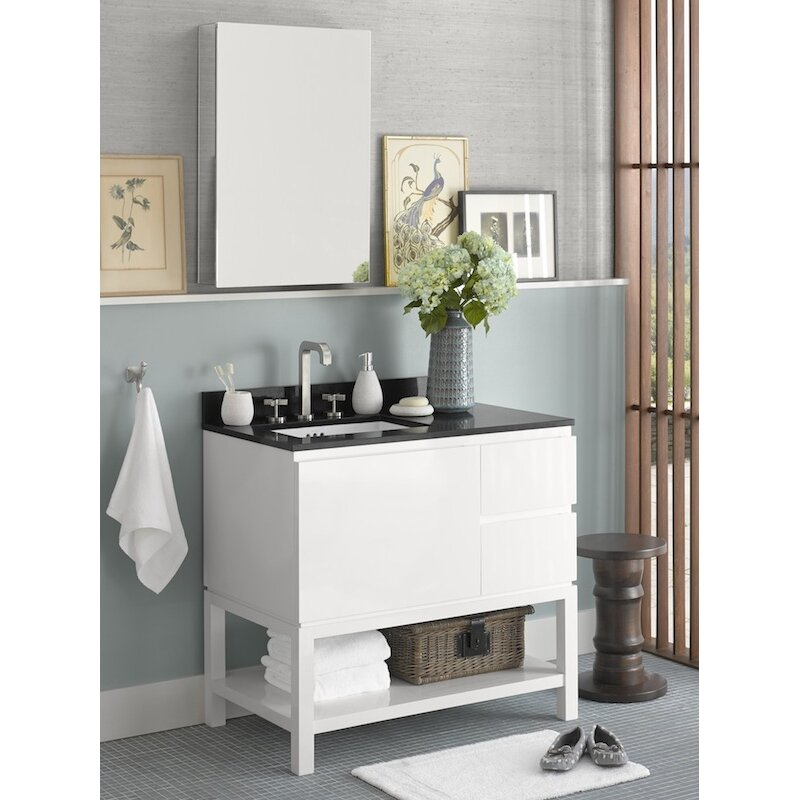 chloe 36 bathroom vanity base cabinet in glossy white large drawer