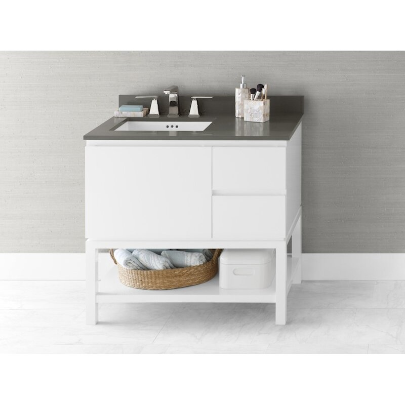 bathroom vanity base cabinet in glossy white large drawer on left