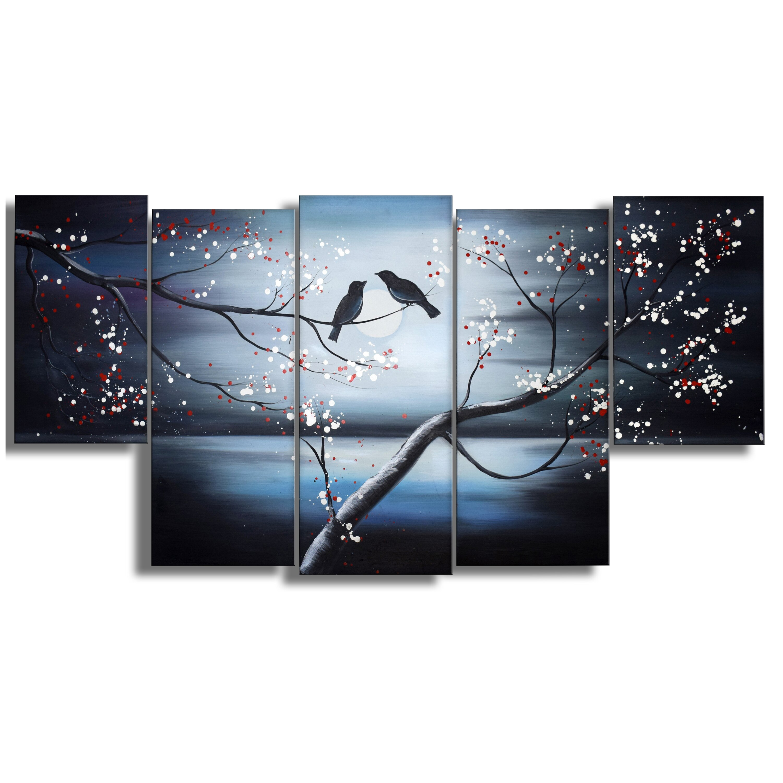 together forever birds 5 piece painting print on wrapped canvas set wayfair. Black Bedroom Furniture Sets. Home Design Ideas