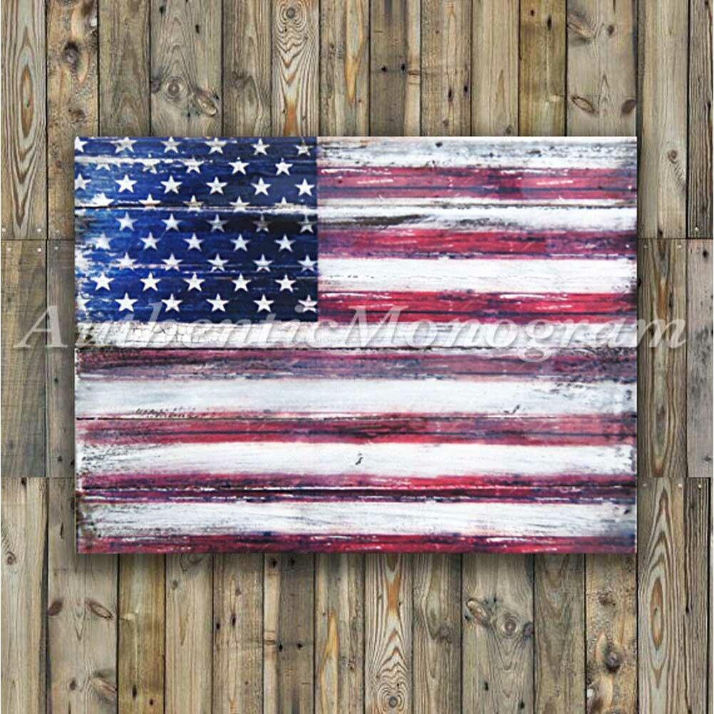 AMonogramArtUnlimited American Flag Rustic Wood Board