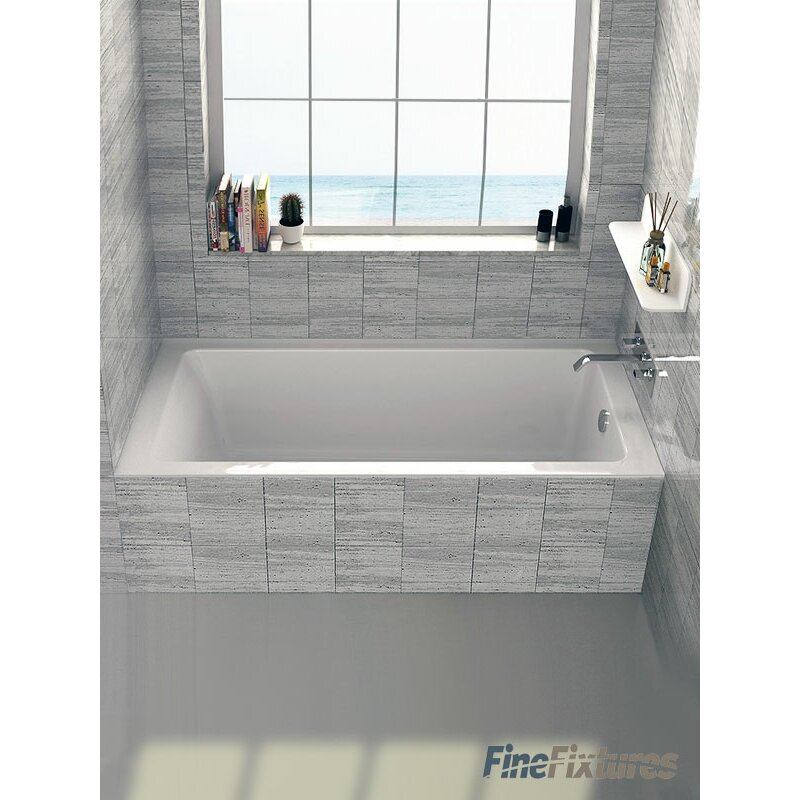 Fine fixtures drop in or alcove 32 x 60 soaking bathtub for Deep soaking tub alcove