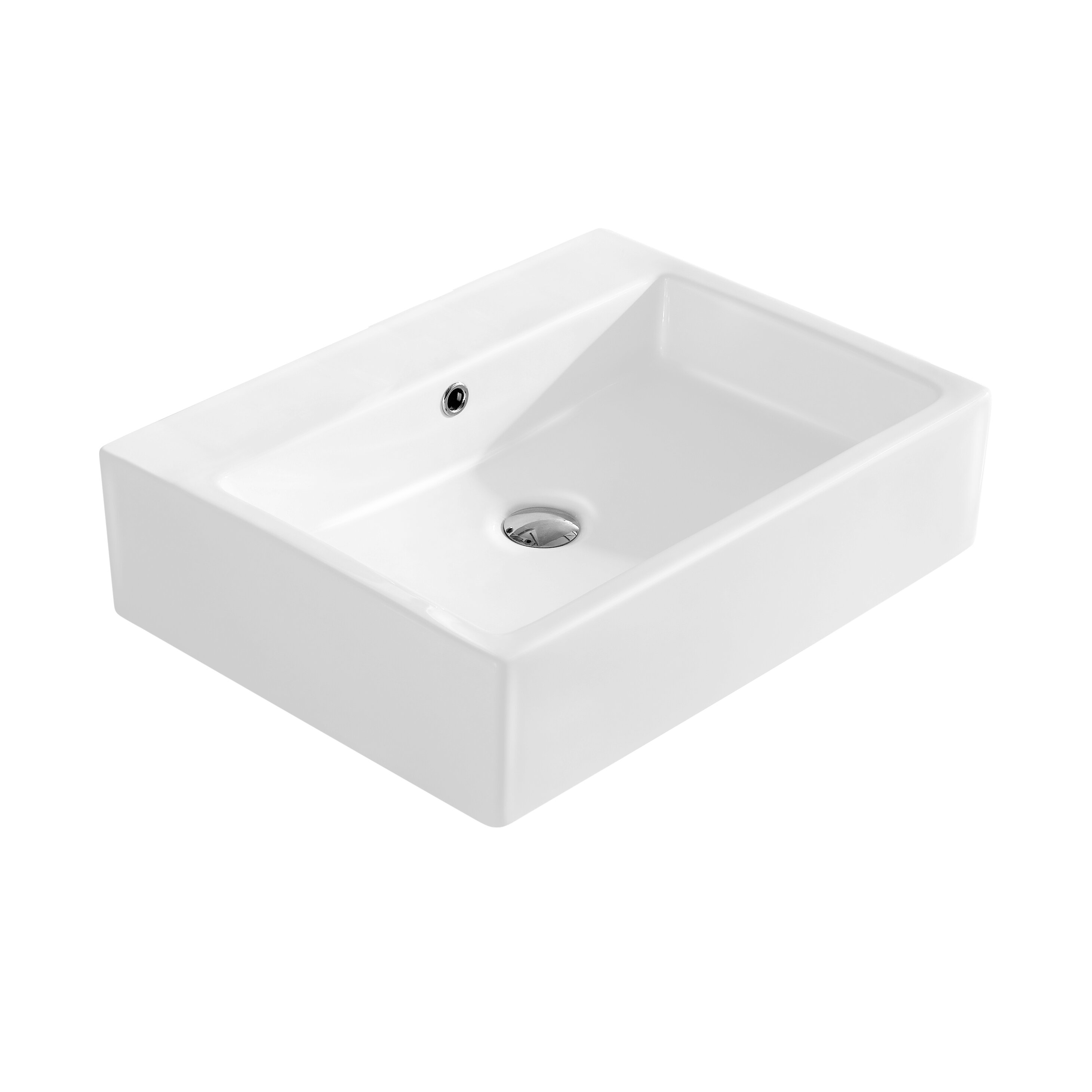 Rectangular Vessel Sink With Overflow : Modern Vitreous Rectangular Vessel Bathroom Sink with Overflow by Fine ...