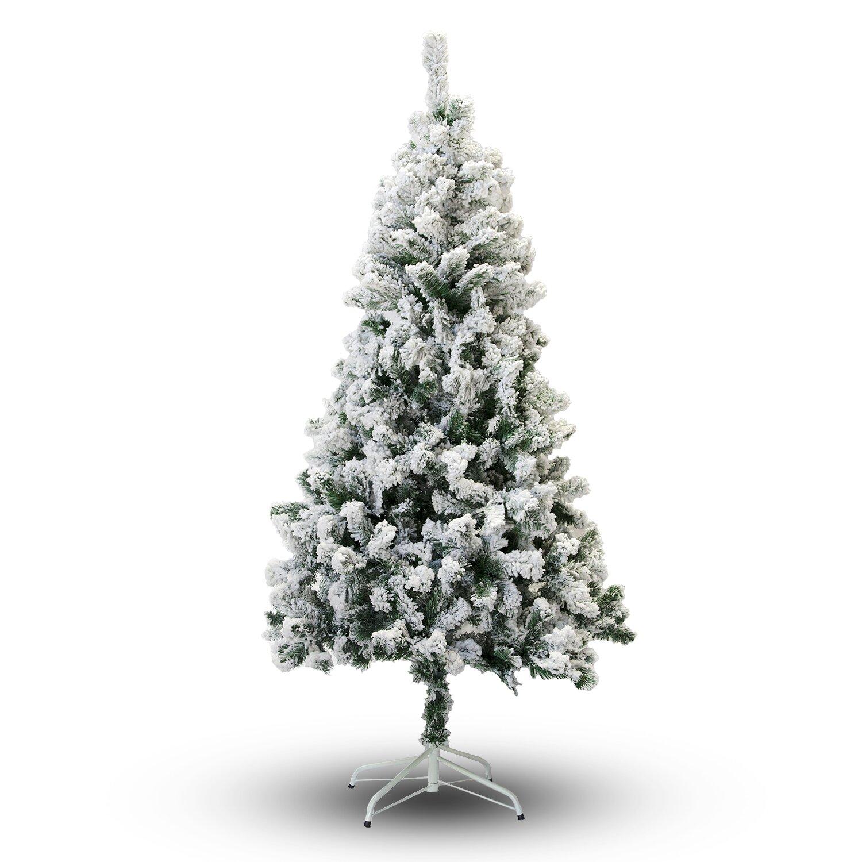 Flocked Christmas Tree: PerfectHoliday 5' Snow Flocked Artificial Christmas Tree