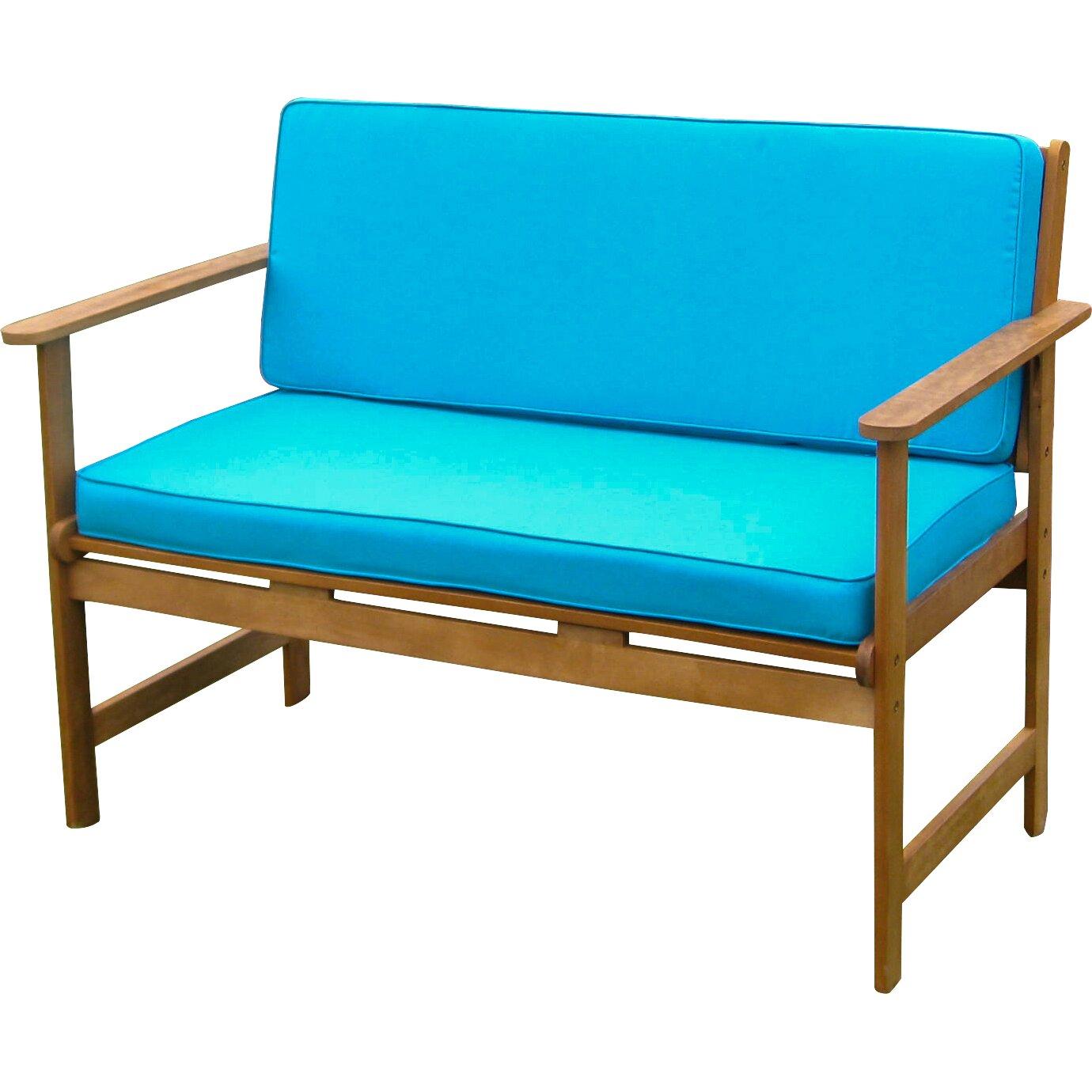 Breakwater Bay Sabbattus Wood Garden Bench with Cushions