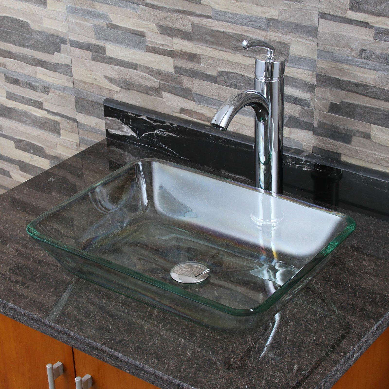 Small Rectangular Vessel Sink : Elite Rectangular Tempered Glass Vessel Bathroom Sink by Elimaxs