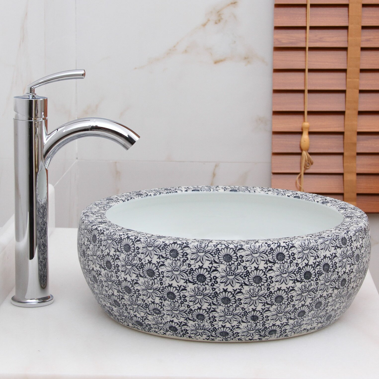 Floral Bathroom Sinks : Blue and White Floral Pattern Vessel Bathroom Sink by Elimaxs