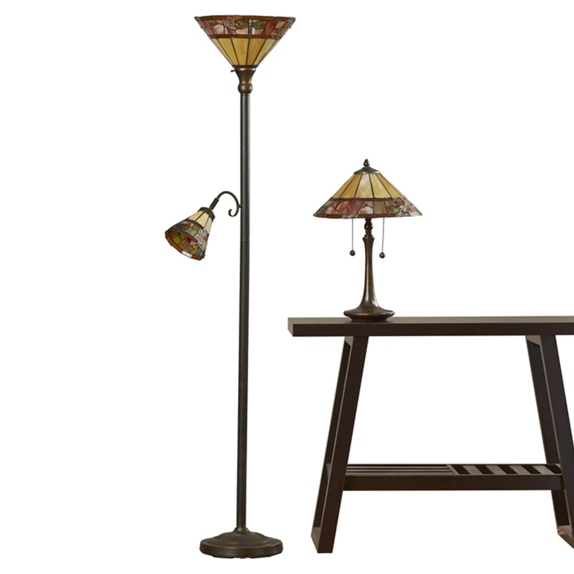 lamphere 2 piece table and floor lamp with cone shade set by rosalind. Black Bedroom Furniture Sets. Home Design Ideas