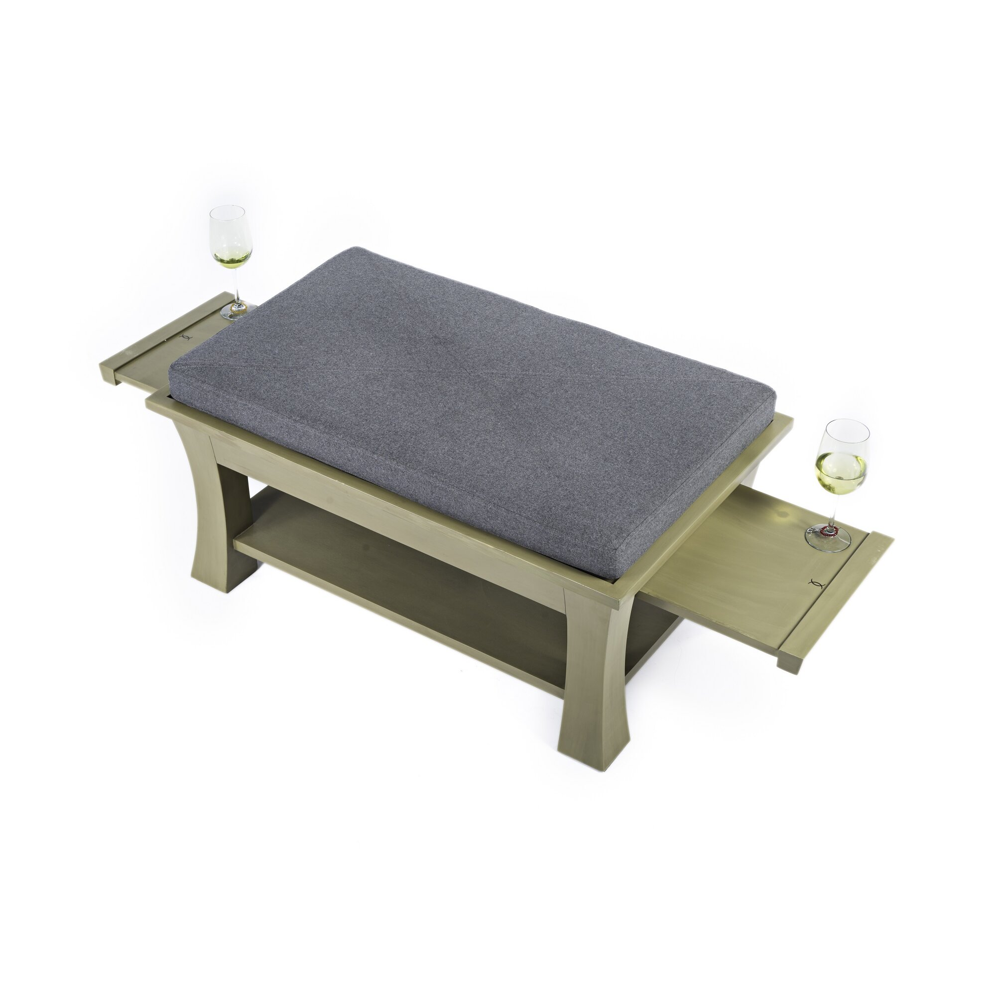 Label 23 Dolton Table Ottoman With Pull Out Shelves In Gray Taupe Finis Reviews Wayfair