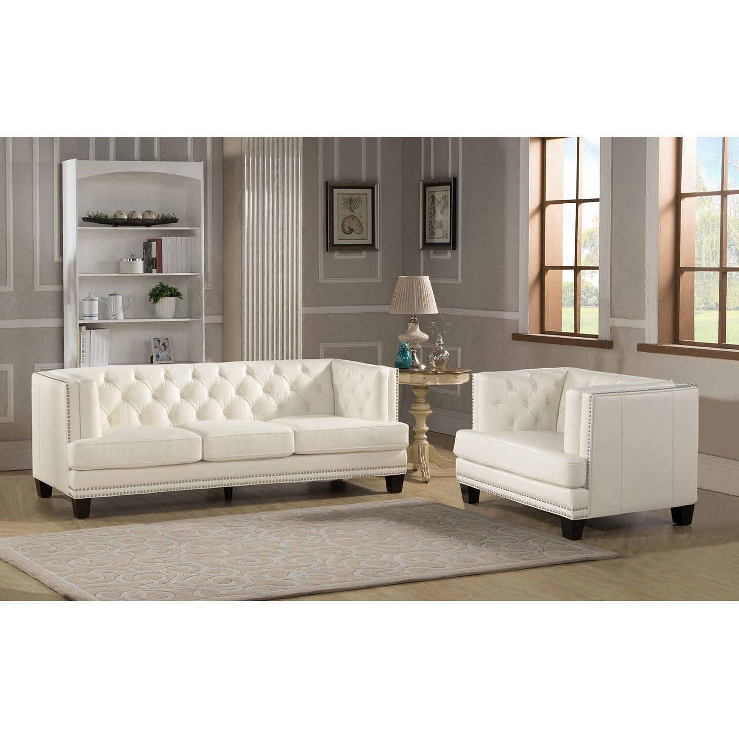 Newport 2 piece leather living room set wayfair