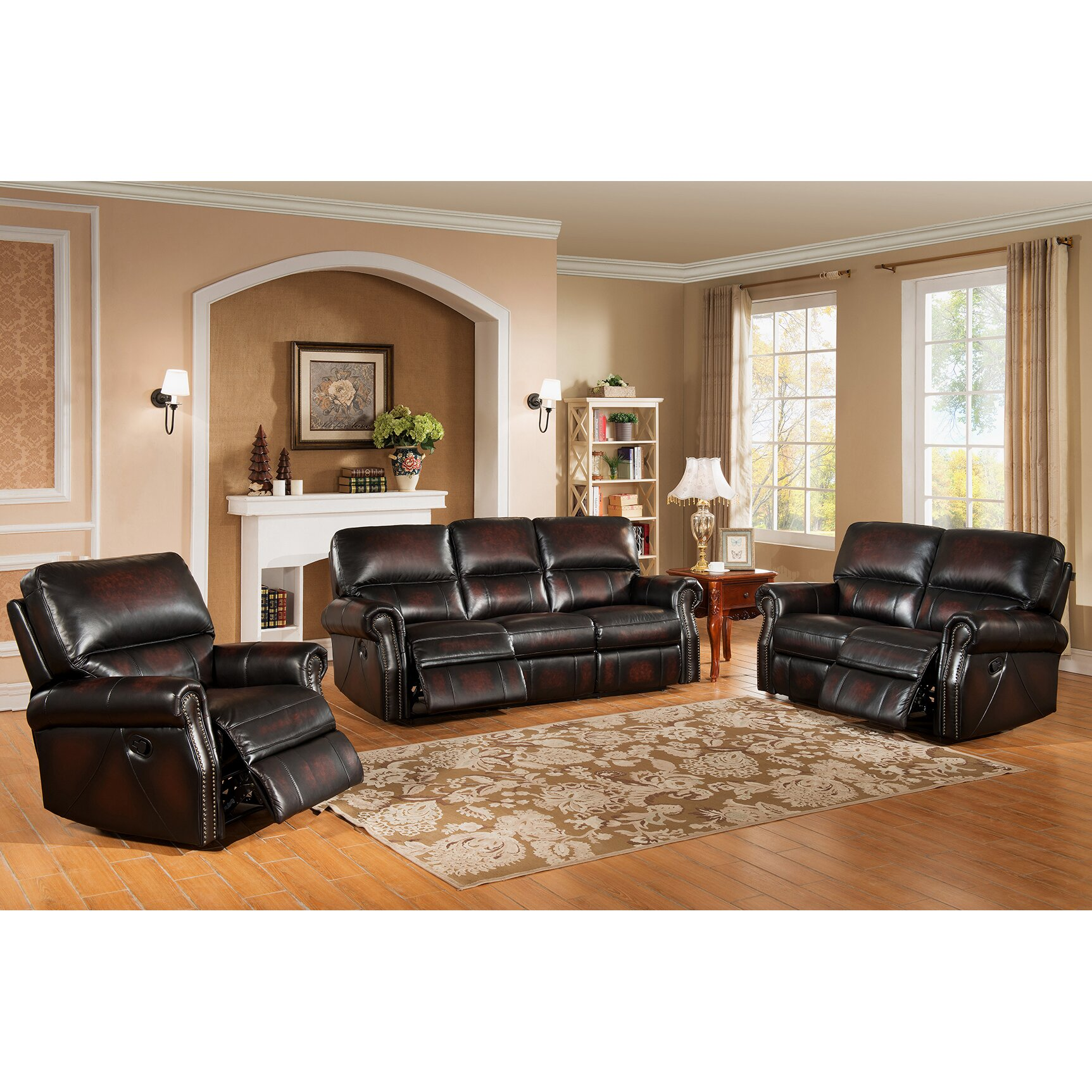nevada 3 piece leather living room set wayfair