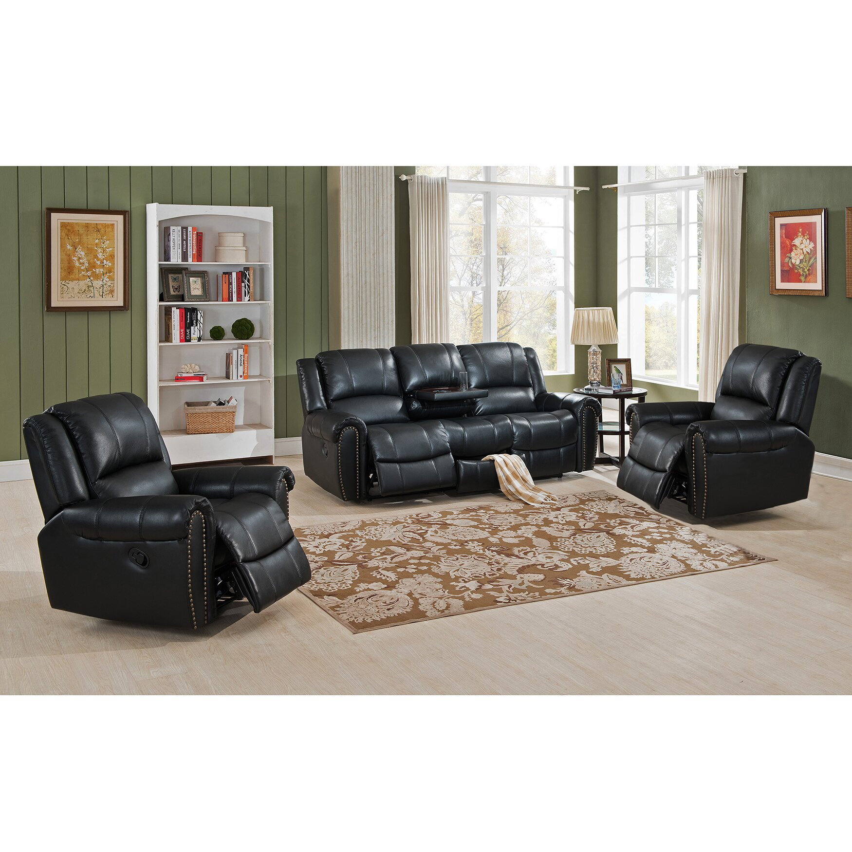 Houston 3 piece leather recliner living room set houston scc jpg