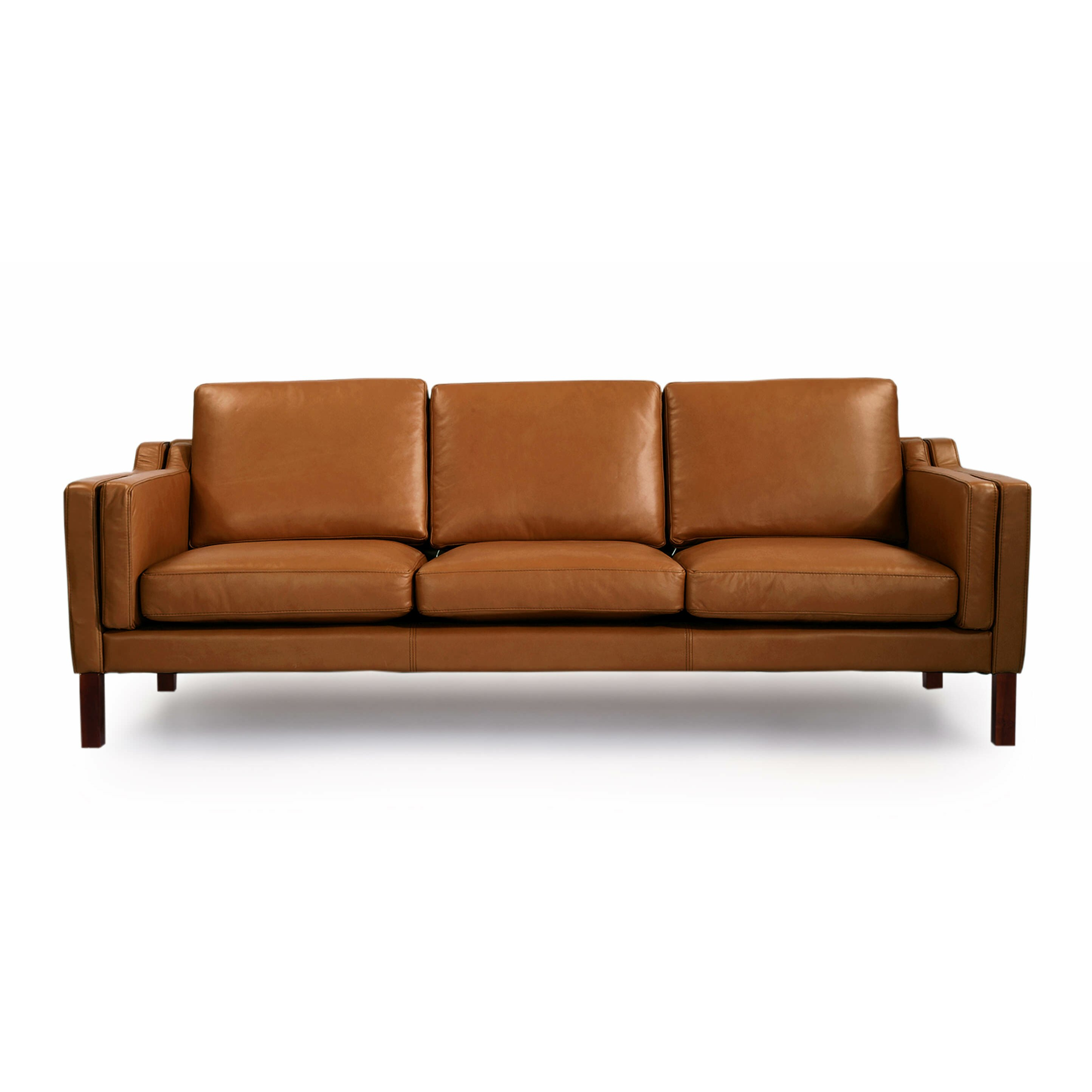 Monroe Mid Century Modern Leather Sofa | Wayfair