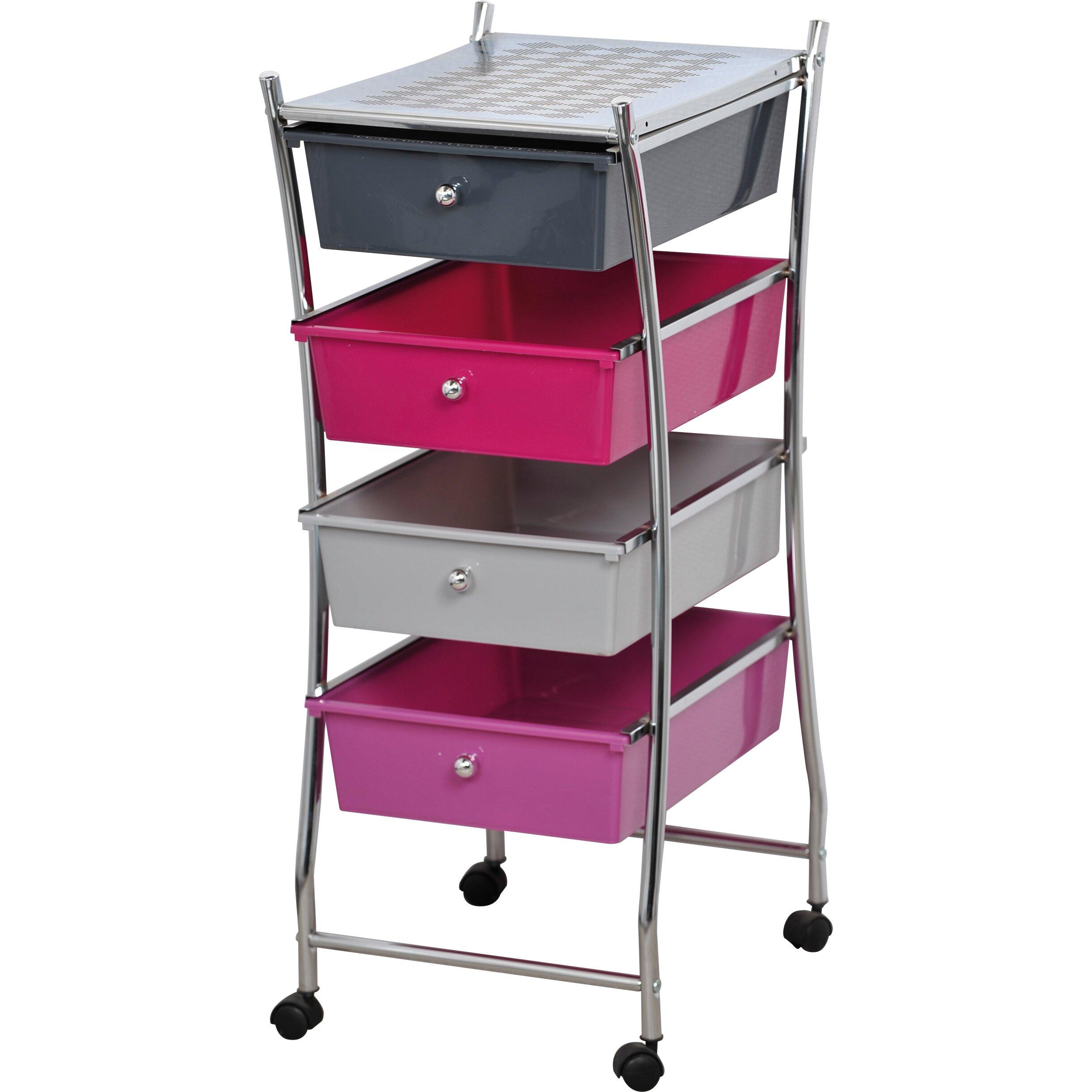 four drawers storage rolling cart wayfair. Black Bedroom Furniture Sets. Home Design Ideas