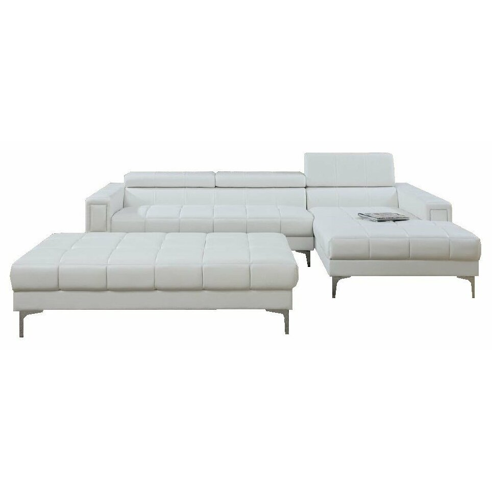 White Leather Contemporary Sectional Sofa W Ottoman: Infini Furnishings Sectional And Ottoman Set & Reviews