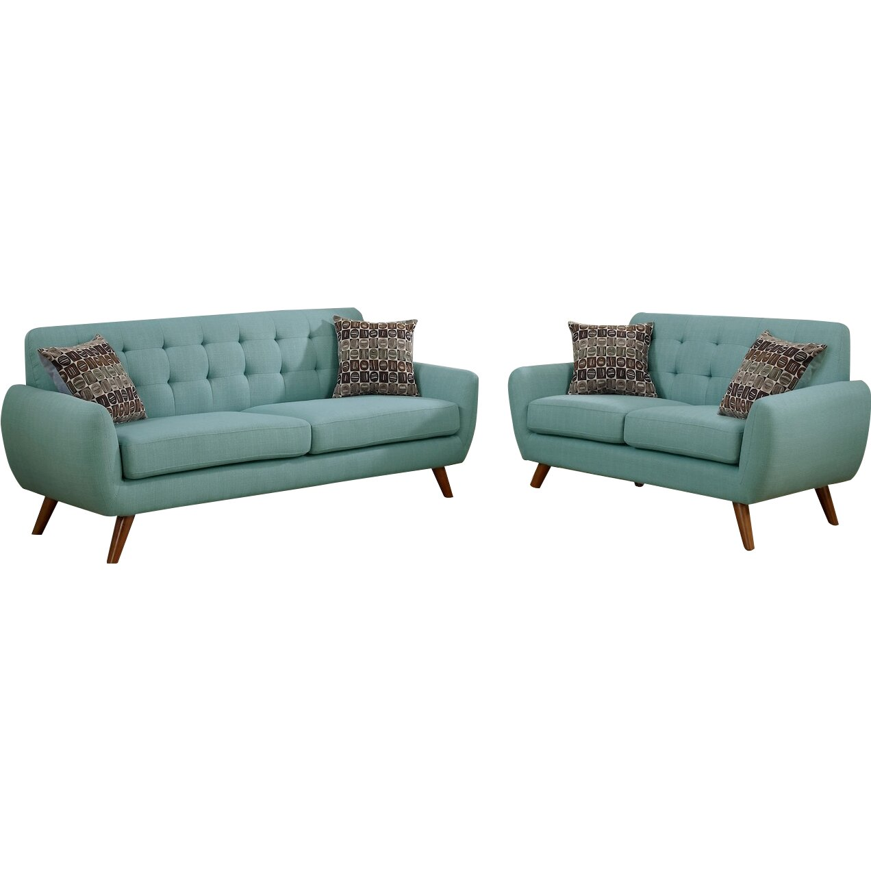 Infini furnishings modern retro sofa and loveseat for Couch and loveseat