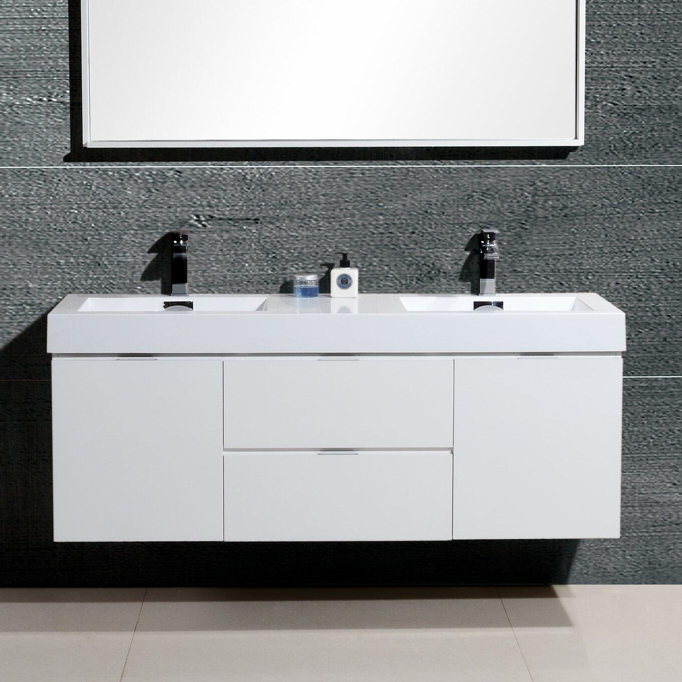 """Bliss 60"""" Double Wall Mount Modern Bathroom Vanity Set ..."""