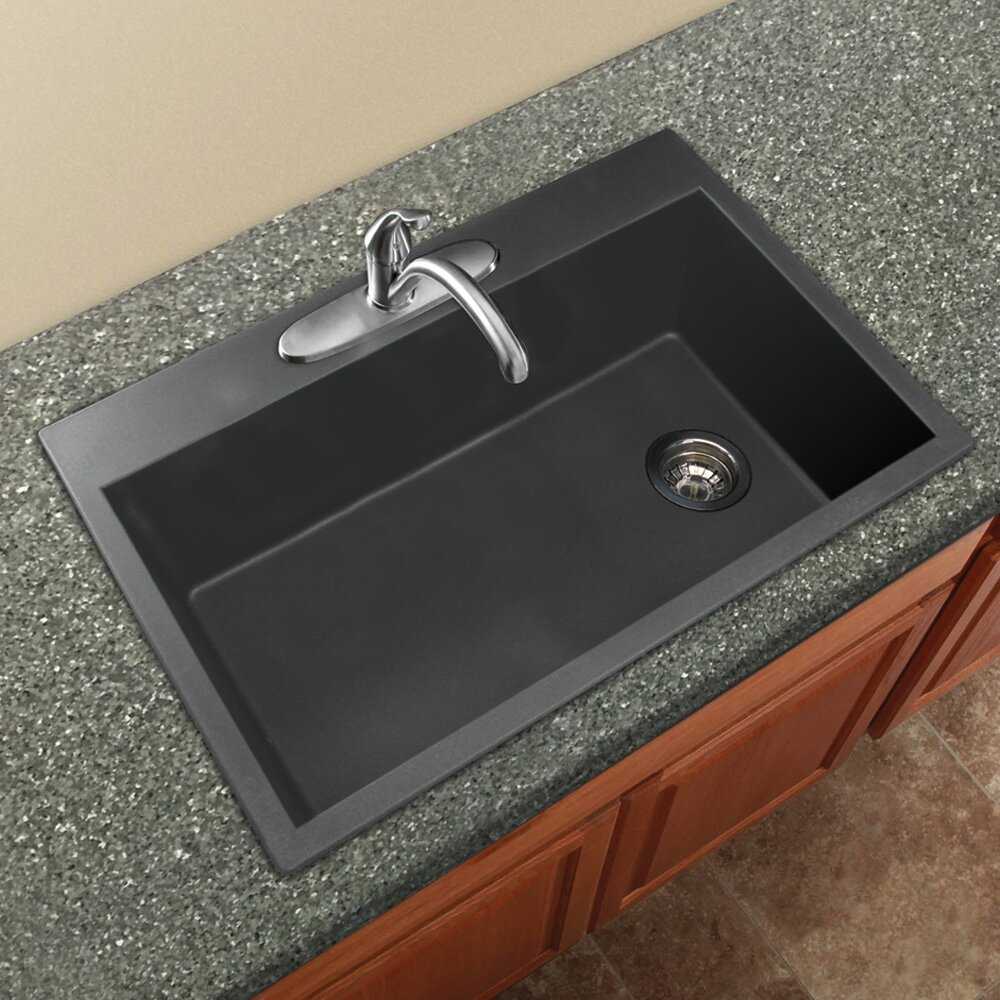 "Granite Kitchen Sink: Transolid Radius 33"" X 22"" Granite Single Bowl Drop-in"