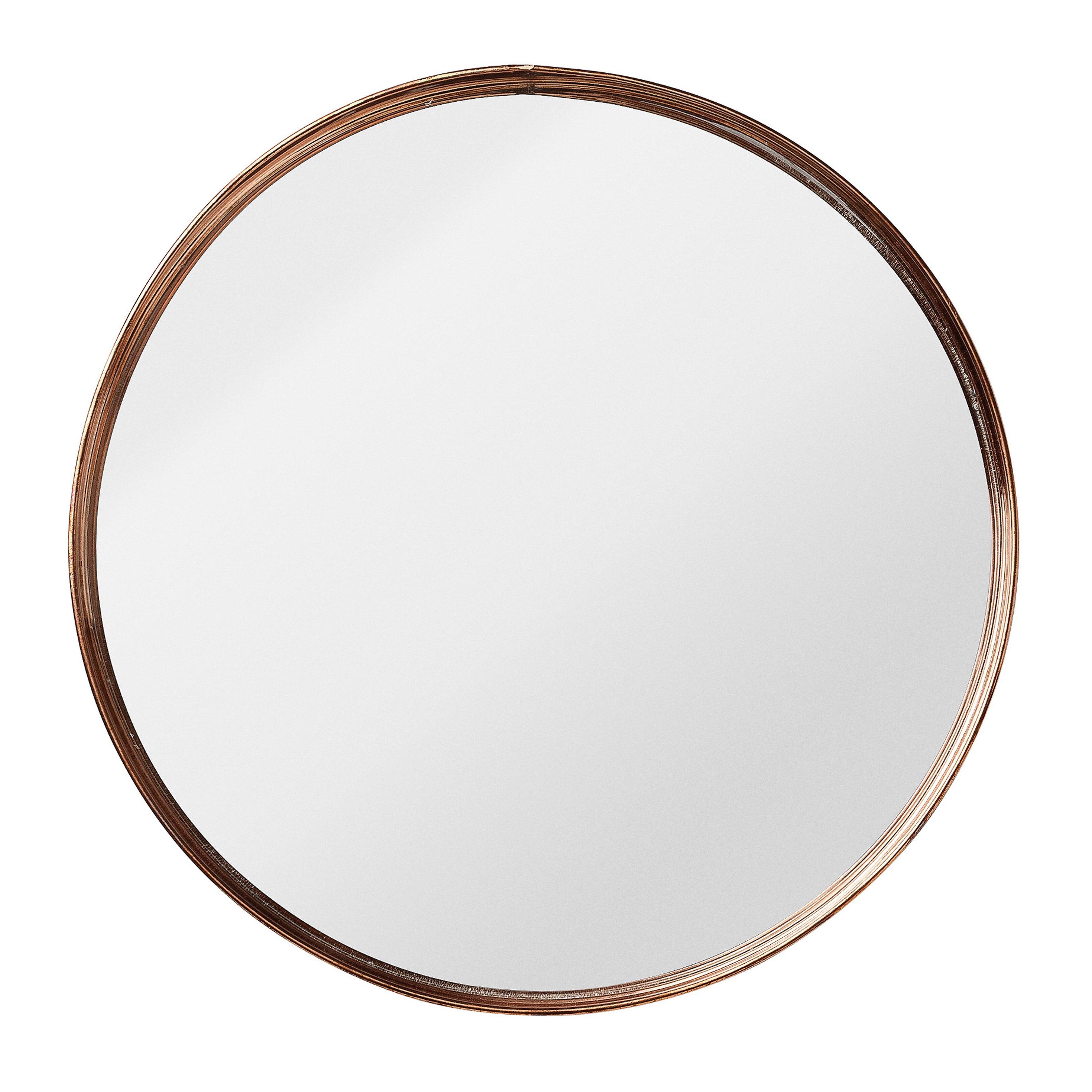 Round metal framed mirror wayfair for Miroir rond metal noir
