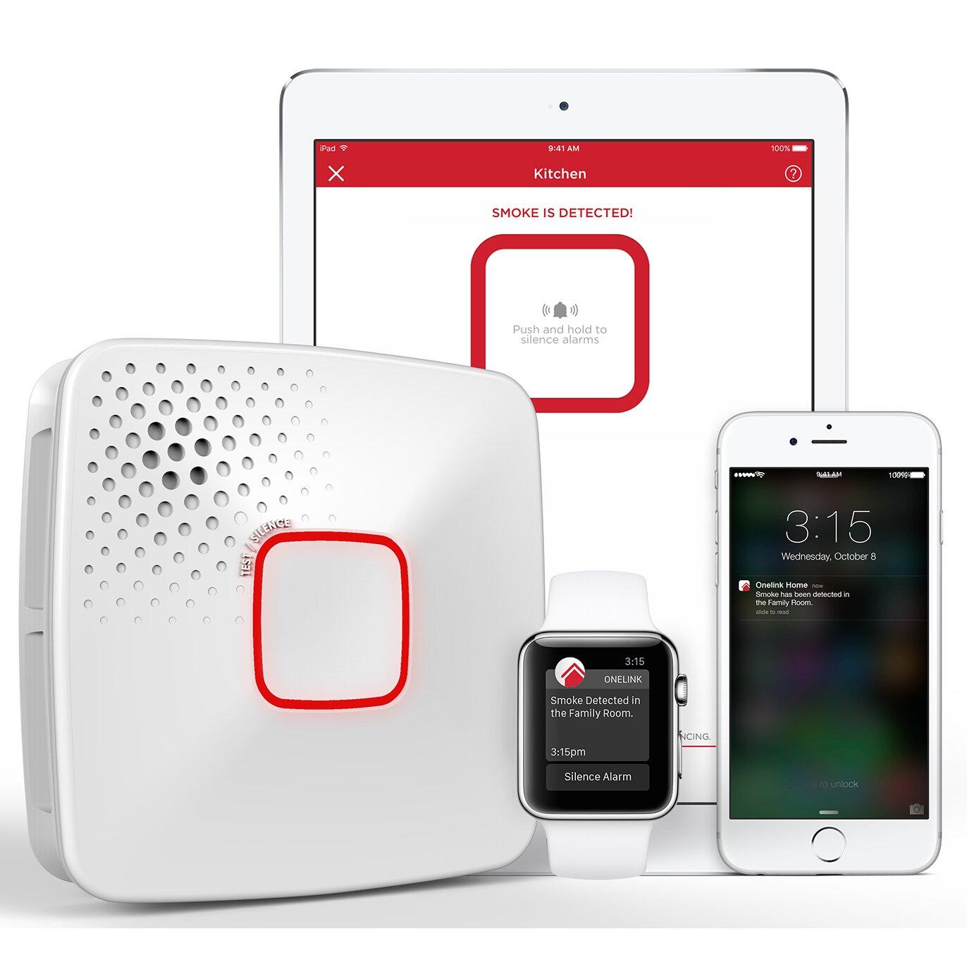 Wi fi smoke carbon monoxide alarm battery apple home kit enabled
