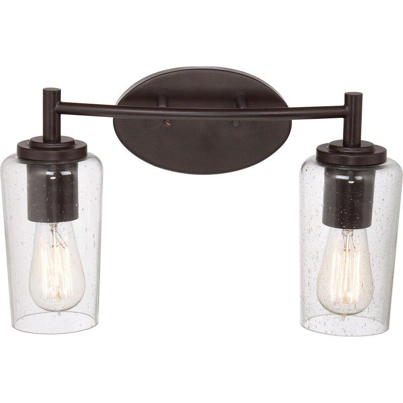quoizel edison 2 light bath vanity light reviews wayfair. Black Bedroom Furniture Sets. Home Design Ideas