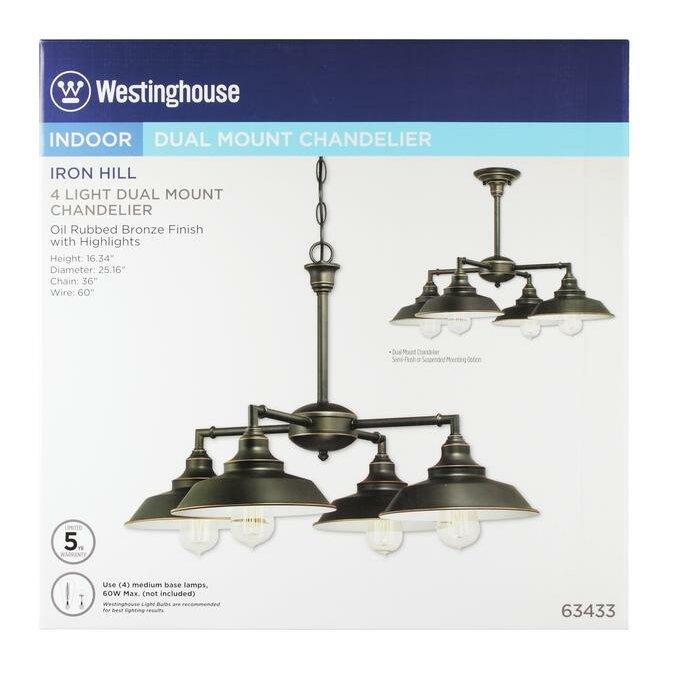 Westinghouse Iron Hill Pendant: Westinghouse Lighting Iron Hill 4 Light Chandelier
