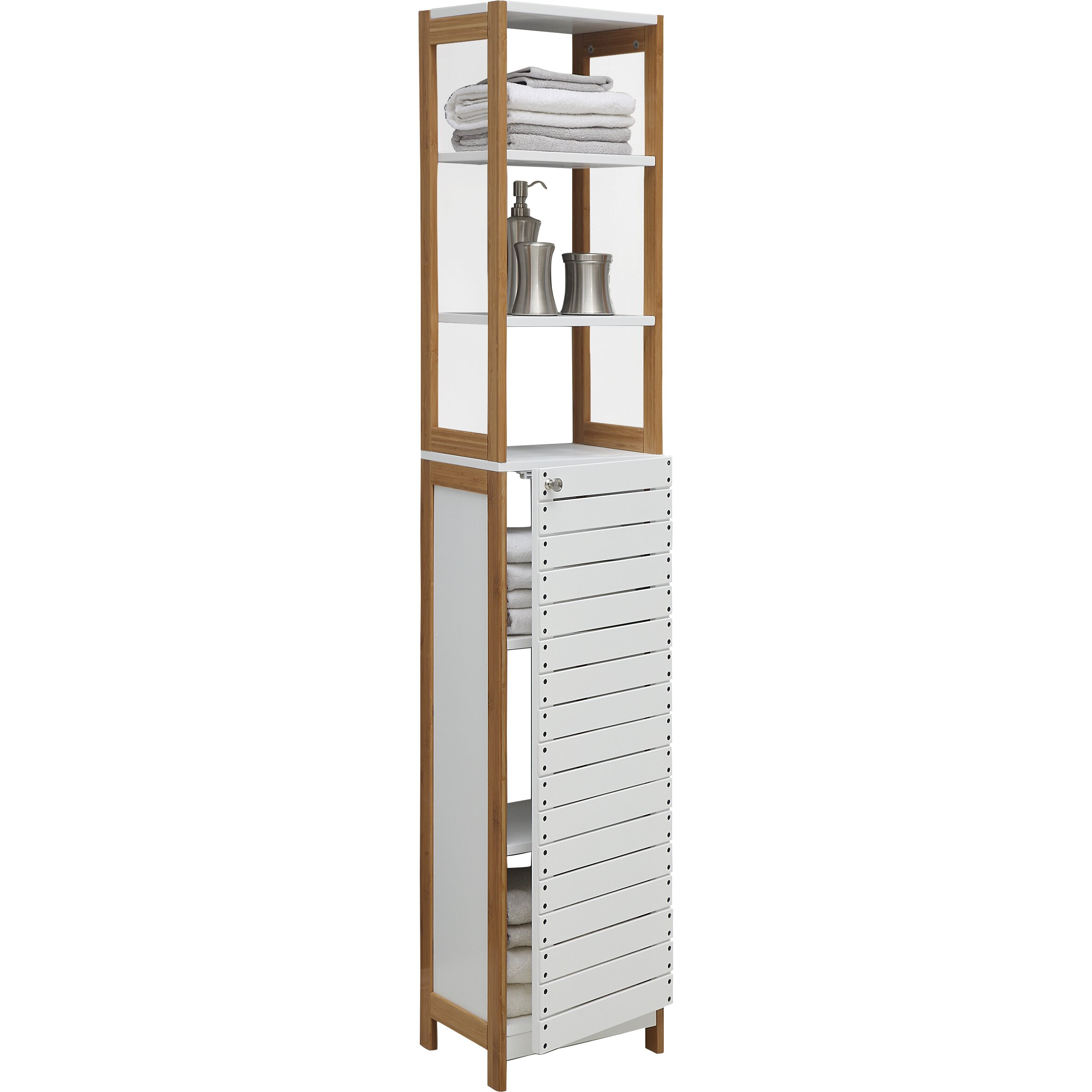 Oia rendition 14 5 x 68 free standing linen tower - Free standing linen cabinets for bathroom ...