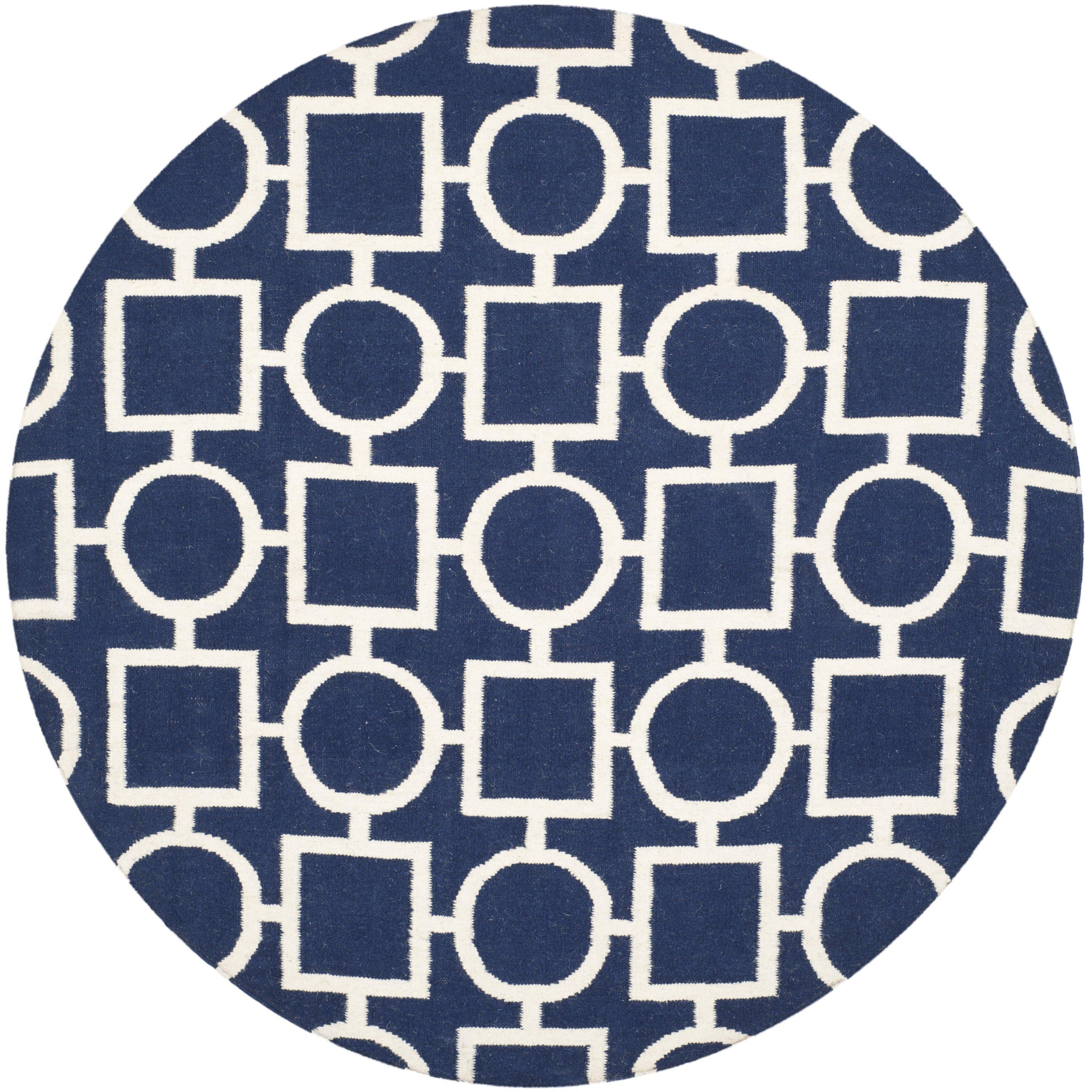 dhurries navy white area rug wayfair. Black Bedroom Furniture Sets. Home Design Ideas