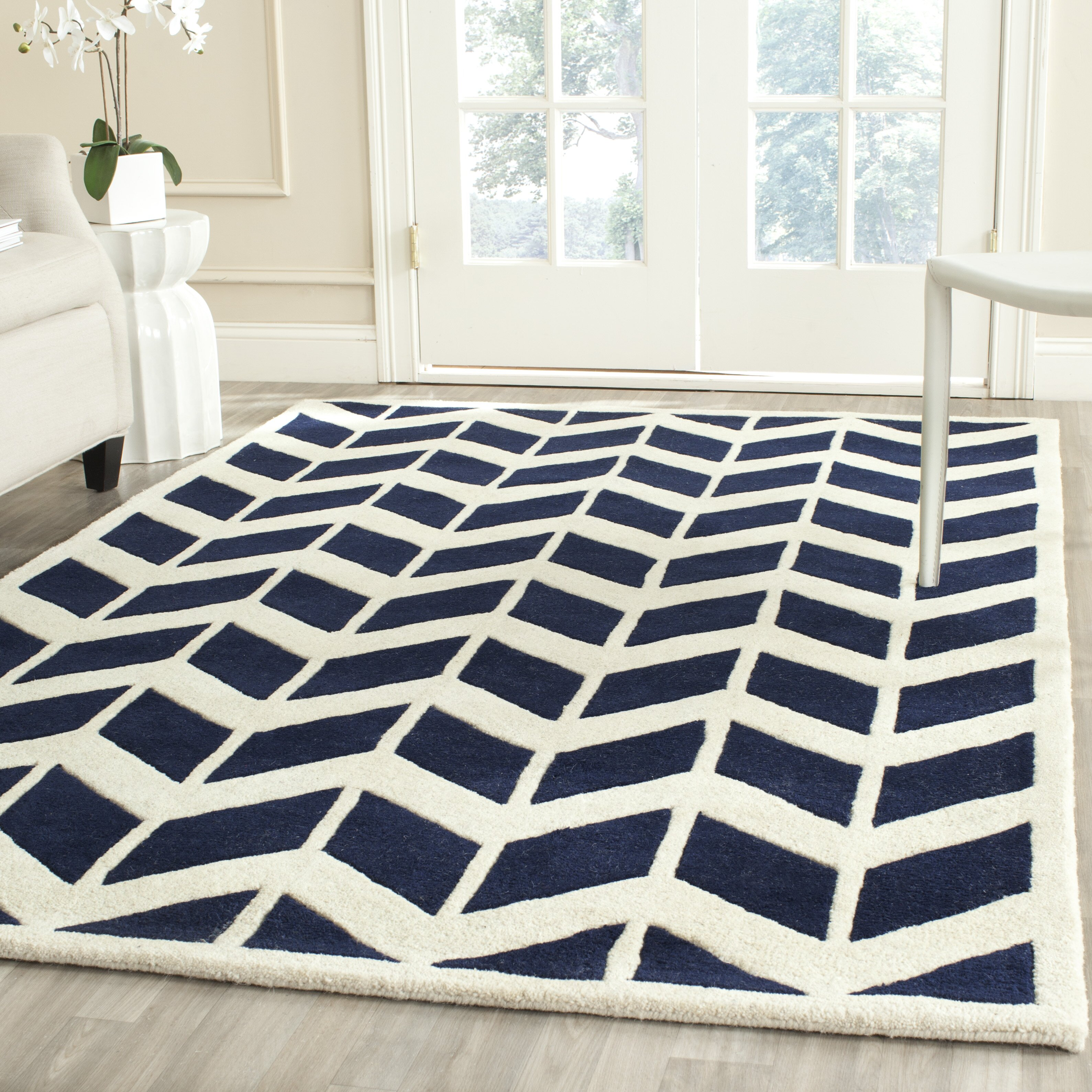 Safavieh Moroccan Blue And Black Area Rug: Safavieh Chatham Dark Blue & Ivory Area Rug & Reviews