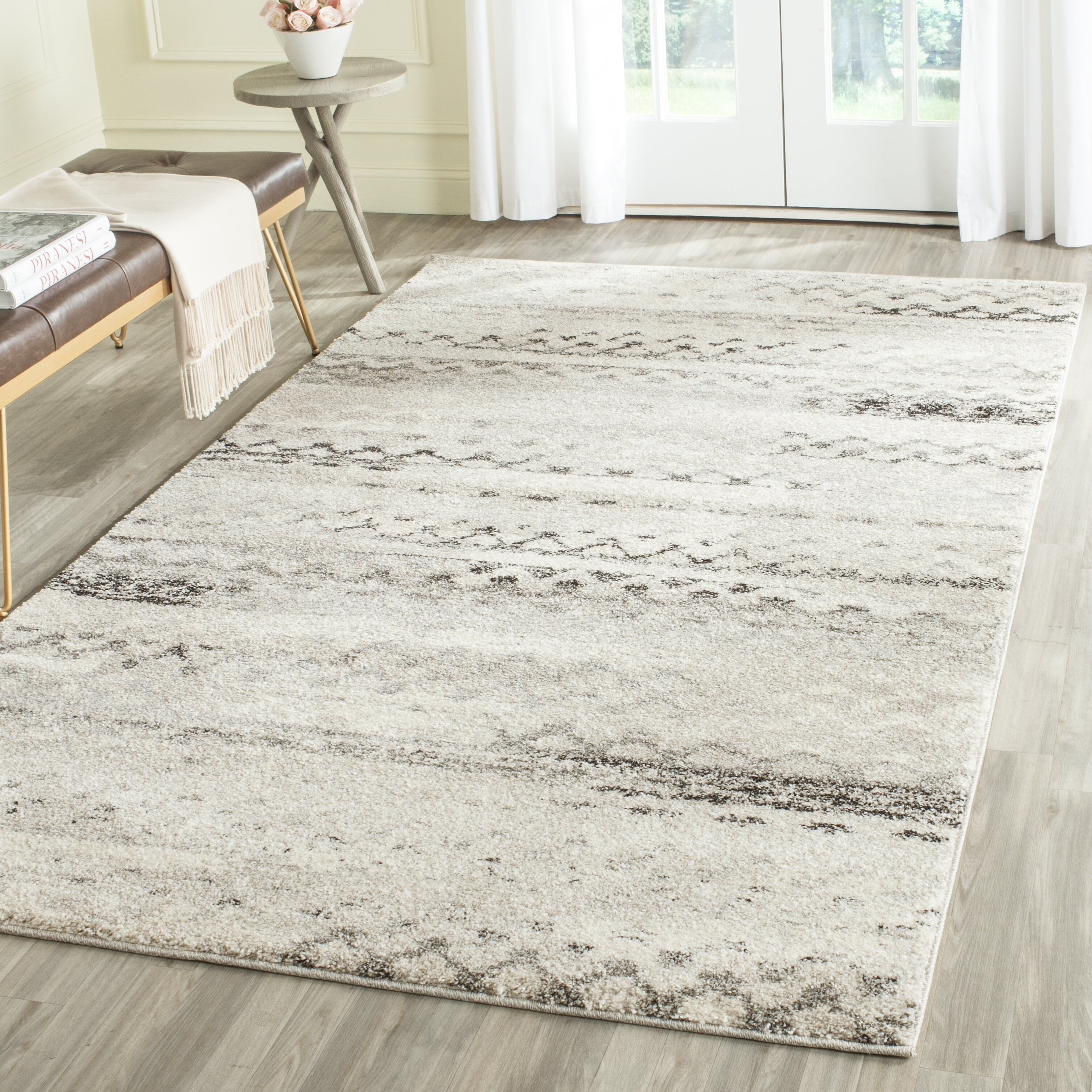 Cream Gray Area Rug Wayfair