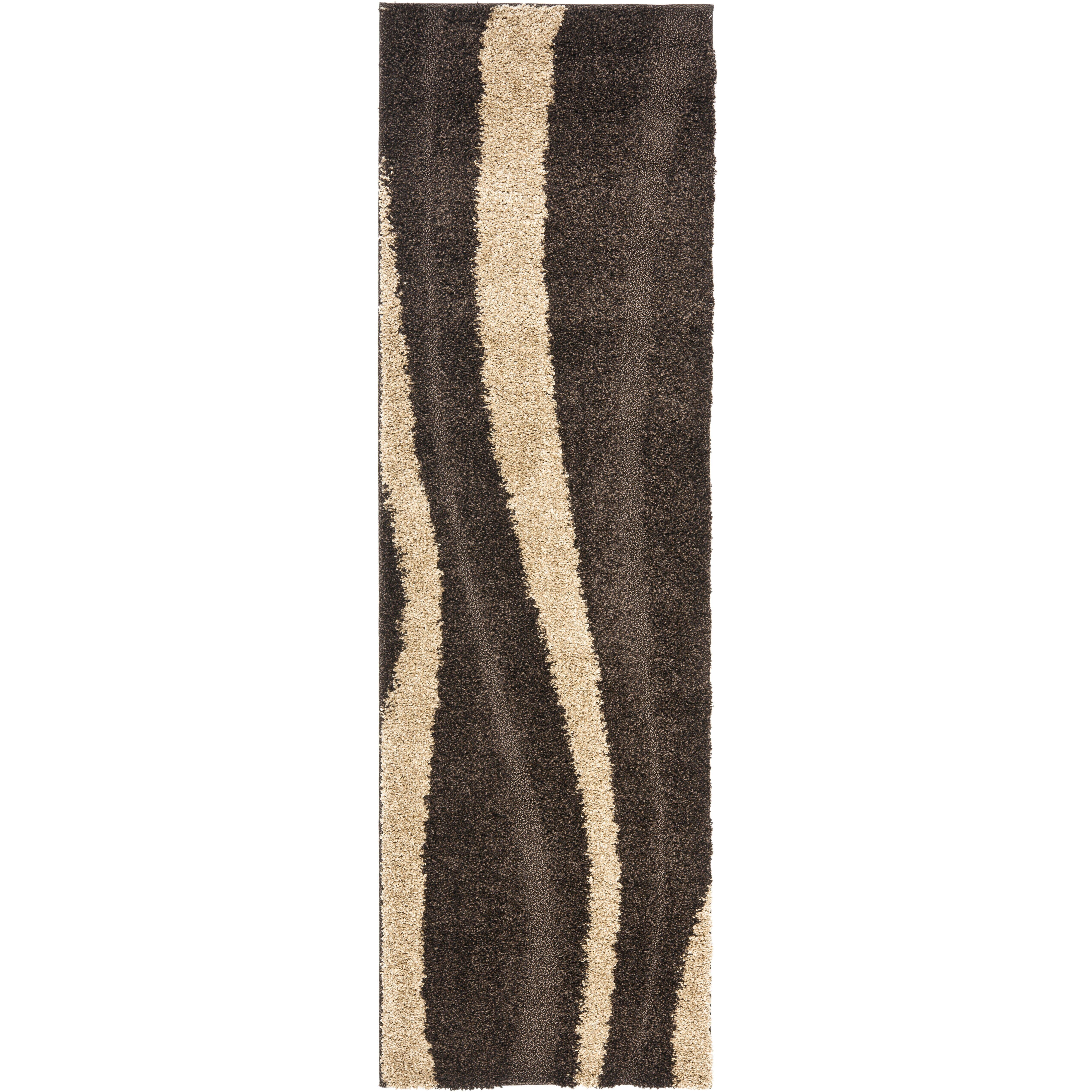 Safavieh Florida Shag Dark Brown & Beige Area Rug