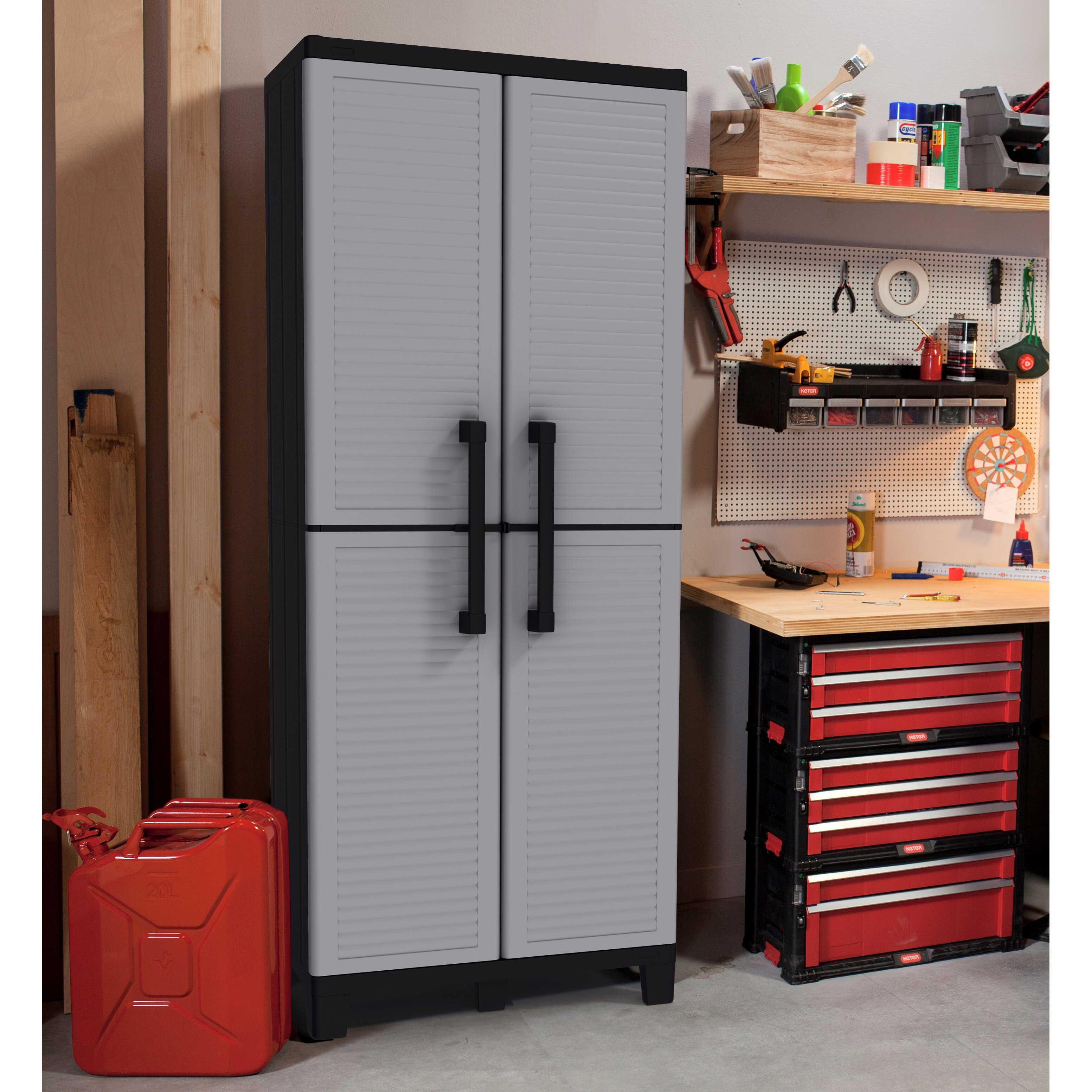 Keter 2 door storage cabinet reviews wayfair for One day doors and closets reviews