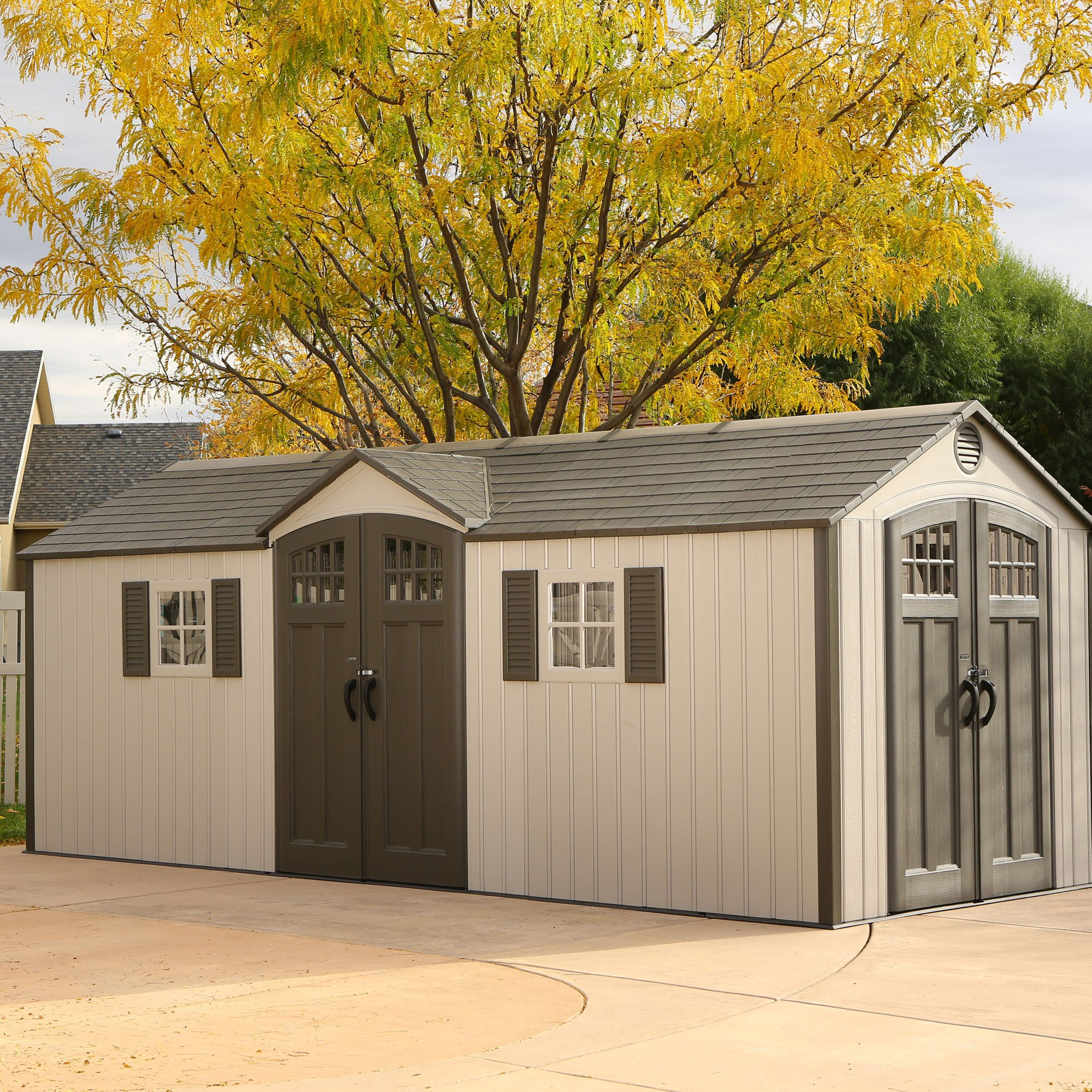 Lifetime 20 ft w x 8 ft d garden shed reviews wayfair for Outside storage shed