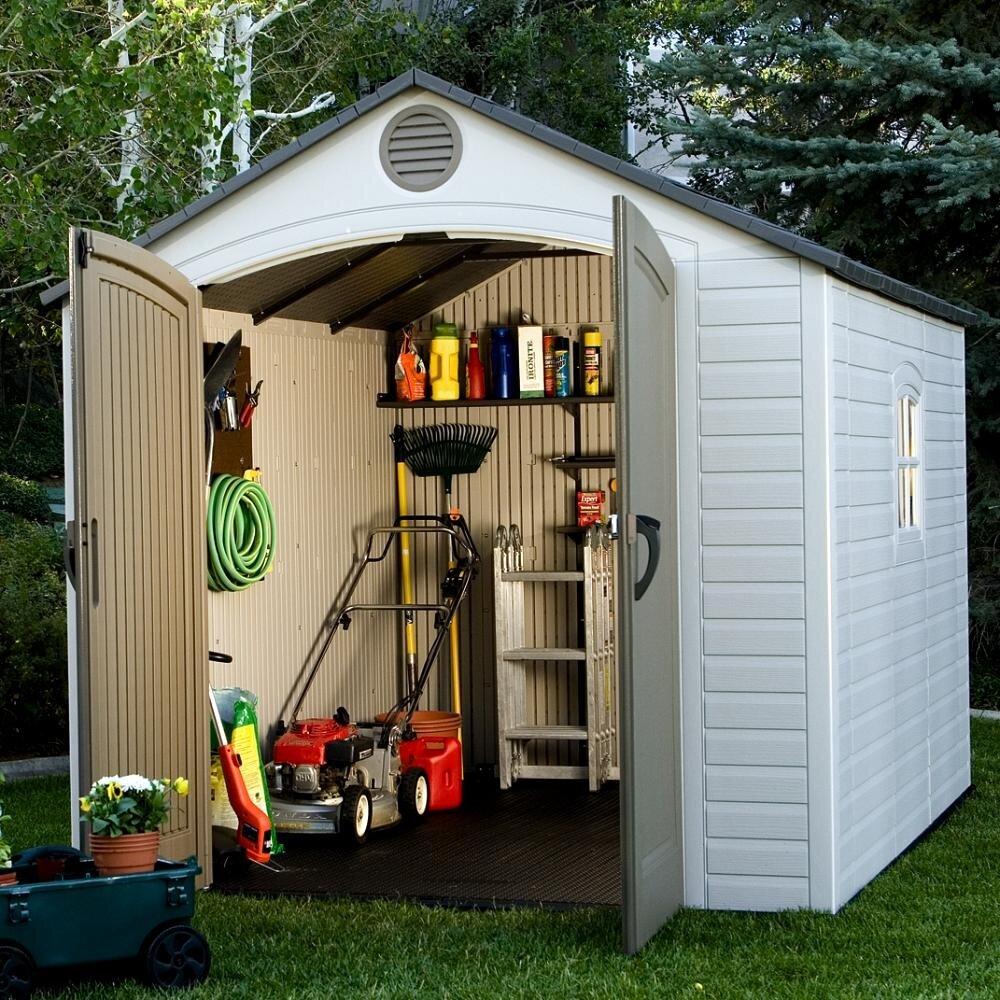 lifetime 8 ft w x 10 ft d plastic storage shed reviews. Black Bedroom Furniture Sets. Home Design Ideas