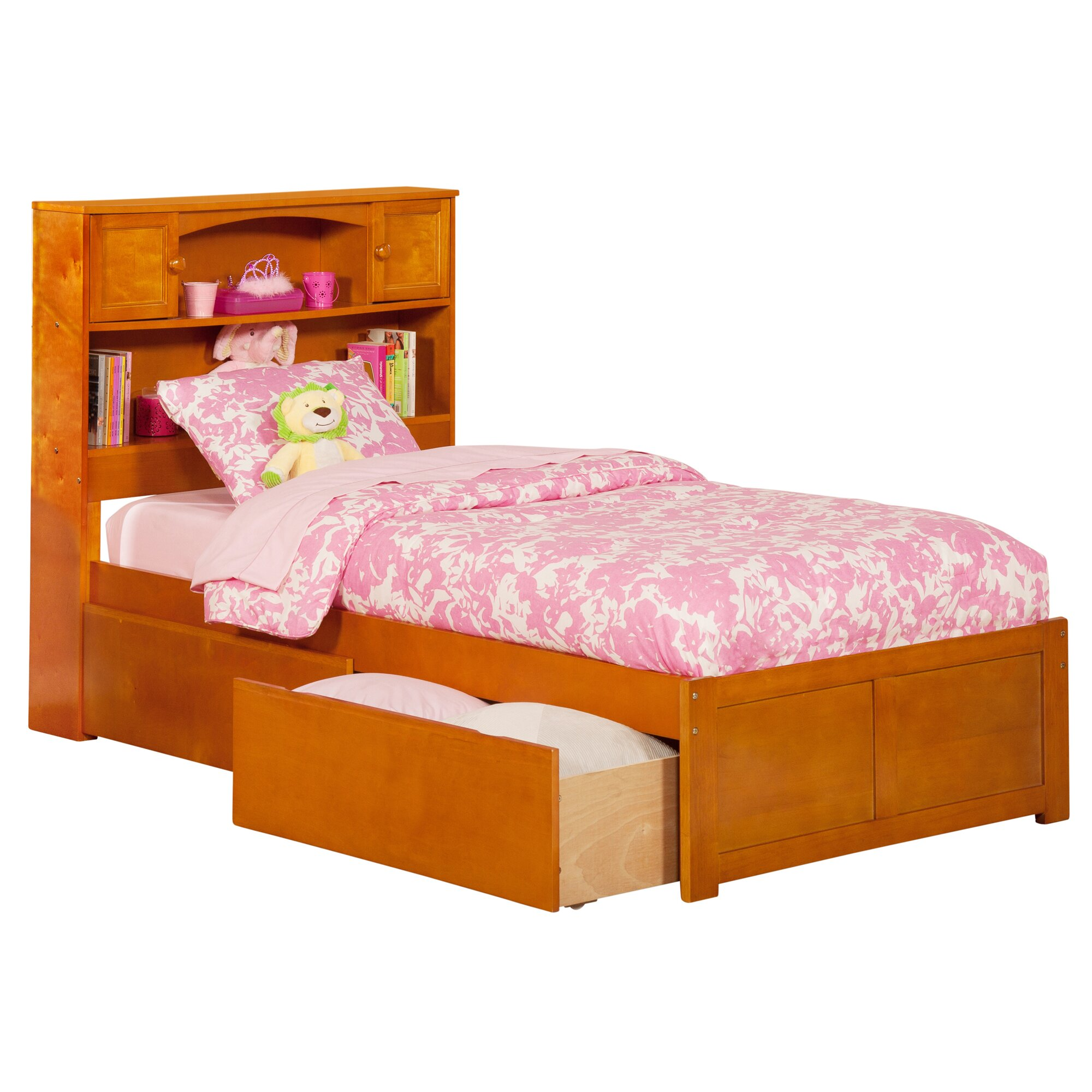 New Bookcase Toy Box White Finish Bedroom Playroom Child: Atlantic Furniture Newport Extra Long Twin Platform Bed
