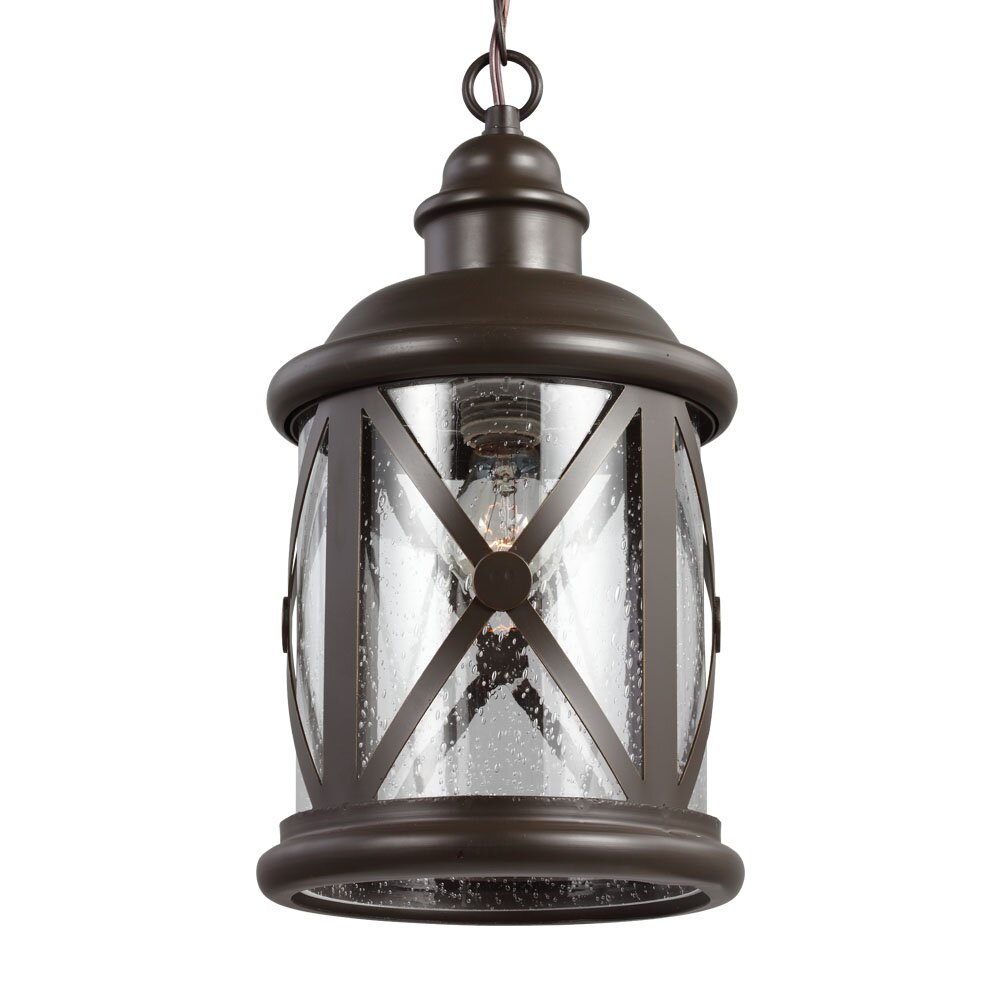 gull lighting lakeview 1 light foyer pendant with clear seeded glass. Black Bedroom Furniture Sets. Home Design Ideas