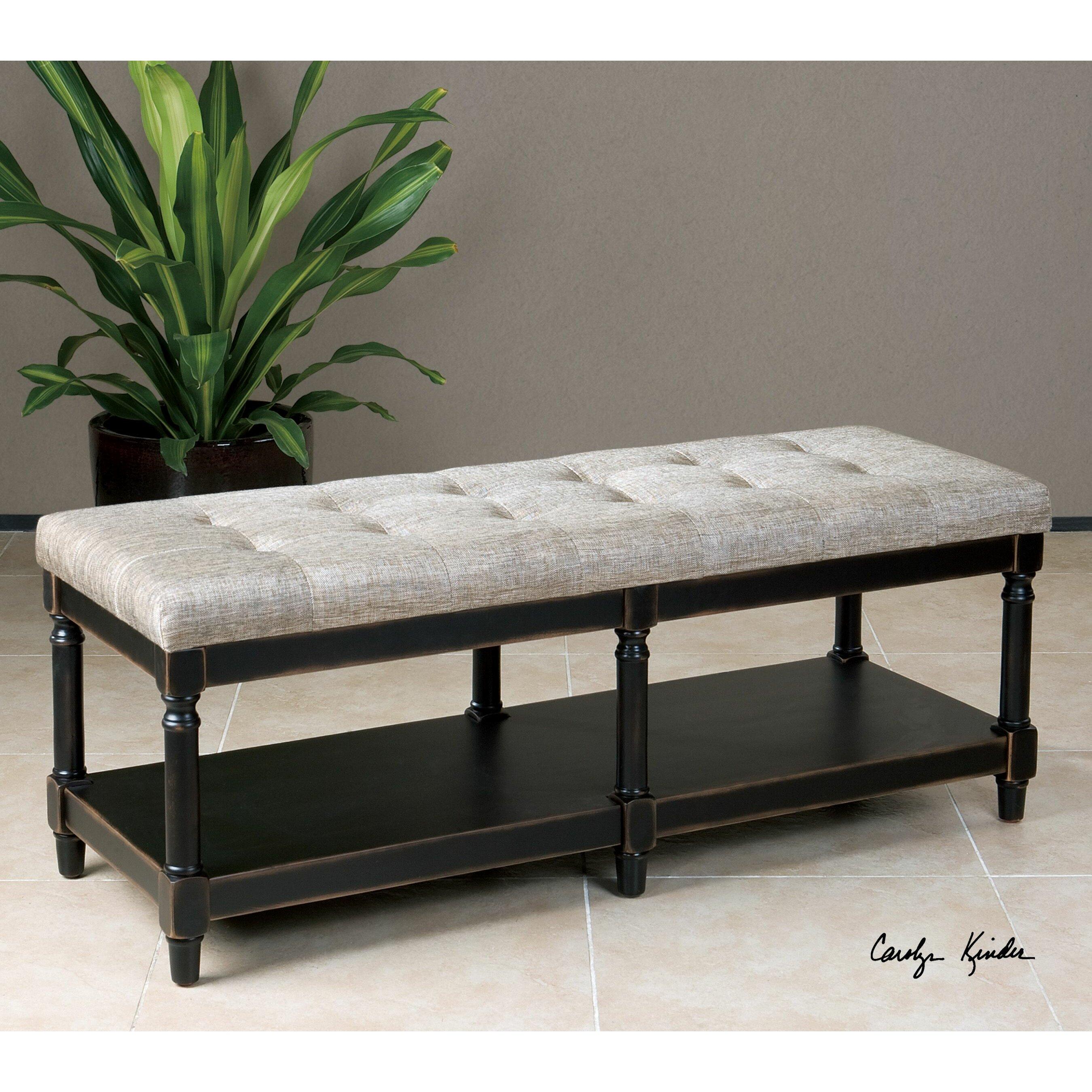 serafino upholstered bedroom bench by uttermost