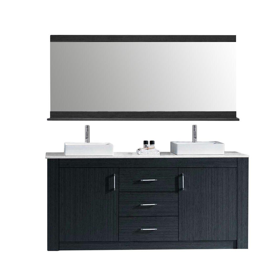 Virtu Tavian 60 Double Bathroom Vanity Set Cabinet Set With Mirror Reviews Wayfair