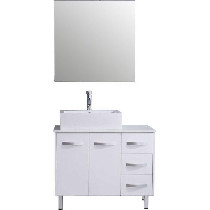 Ultra modern series 37 single bathroom vanity set with mirror wayfair for Ultra bathroom vanities burbank
