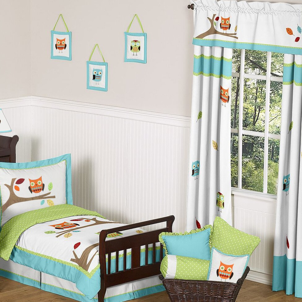 Sweet Jojo Designs Hooty Turquoise And Lime Cotton Curtain