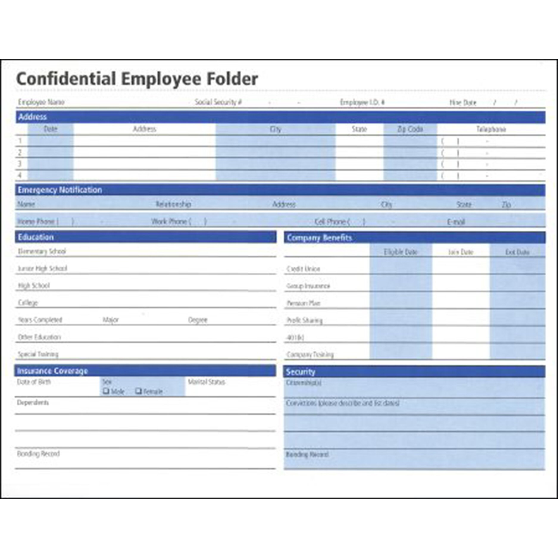 Confidential Employee Folder