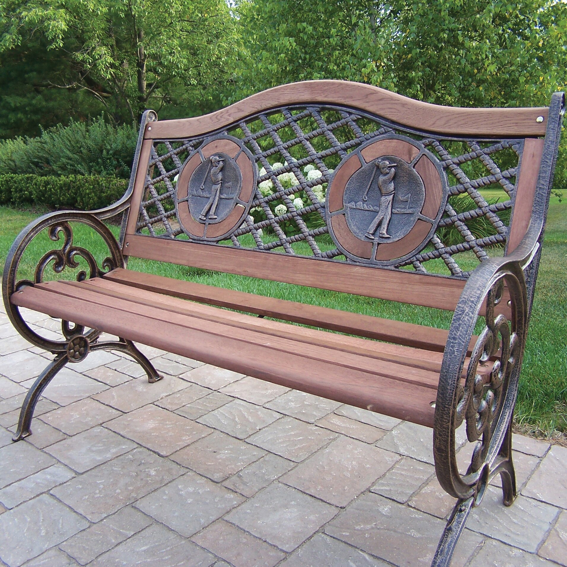 Oakland living double golfer cast iron and wood park bench - Wood and iron garden bench ...