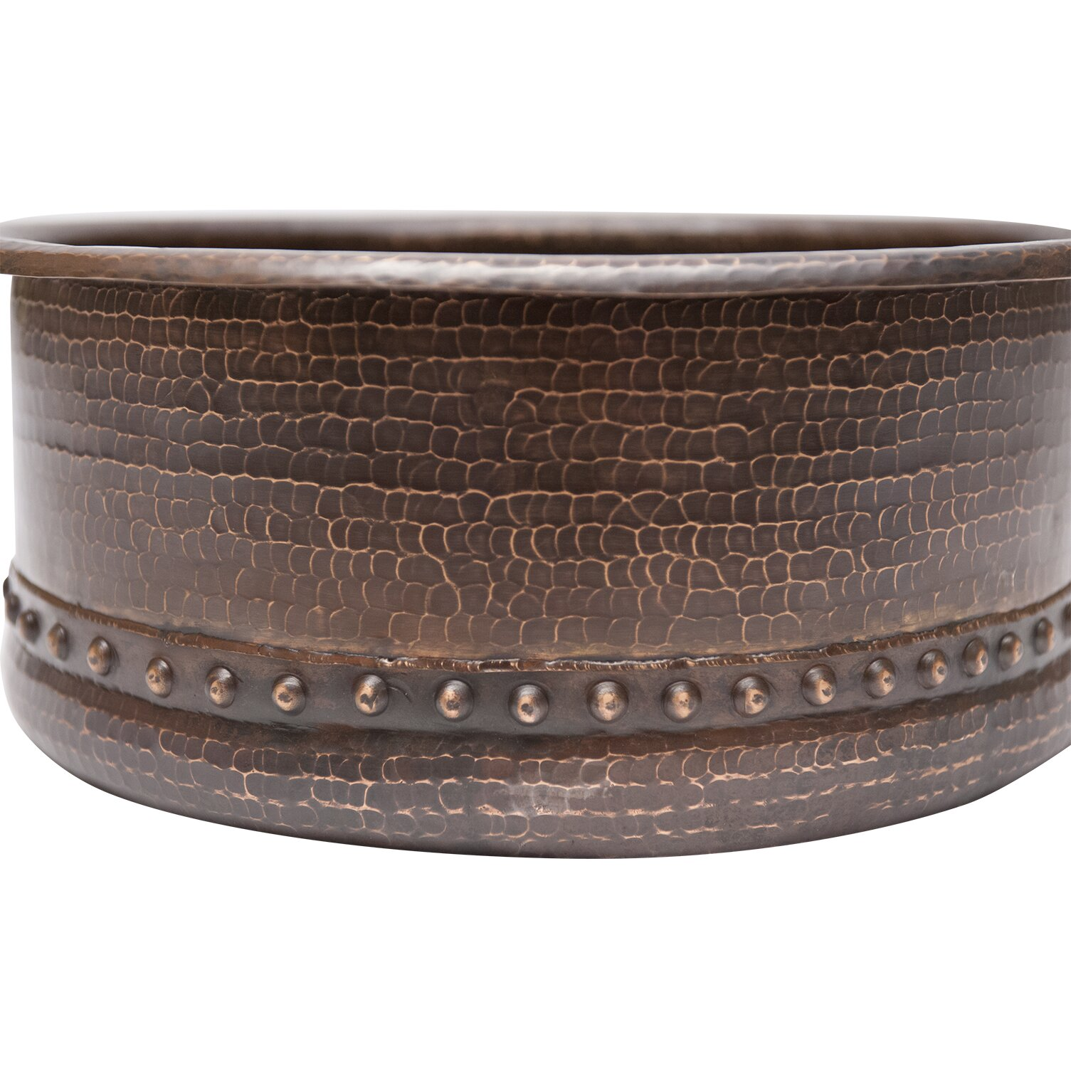 Round Tub Hammered Copper Vessel Sink by Premier Copper Products