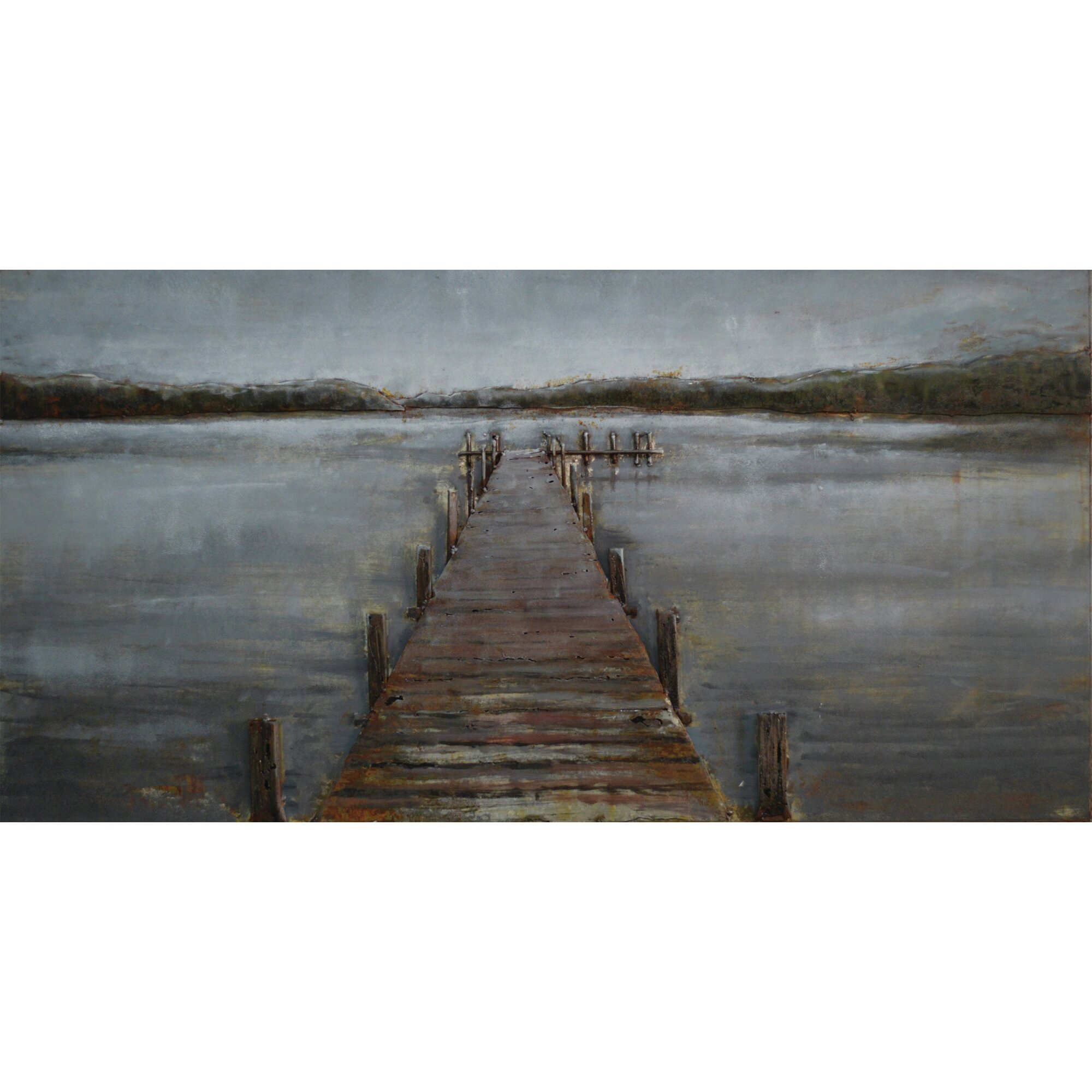 dock of the bay original painting wayfair metal wall art abstract modern home decor contemporary