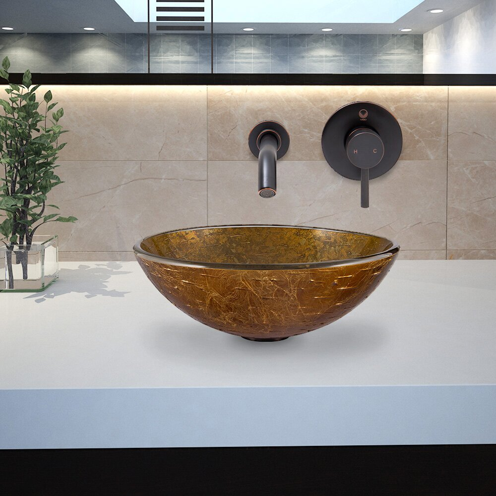 Textured Copper Glass Vessel Bathroom Sink And Olus Wall
